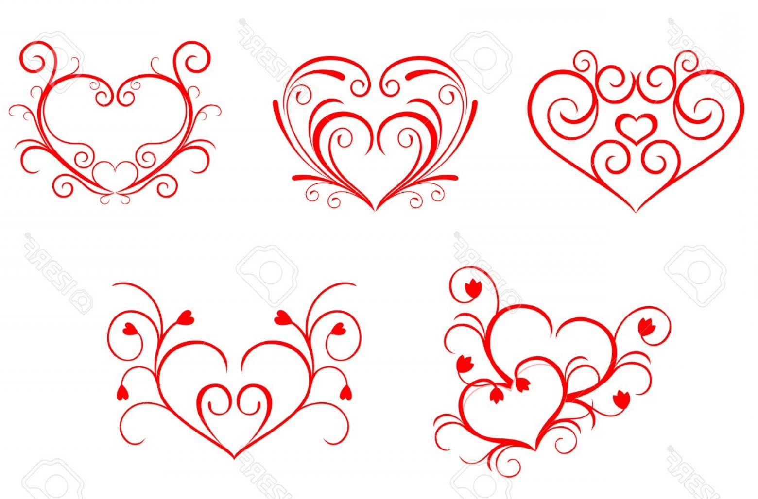 Free Heart Vector Design: Photored Valentine Hearts In Floral Style For Design