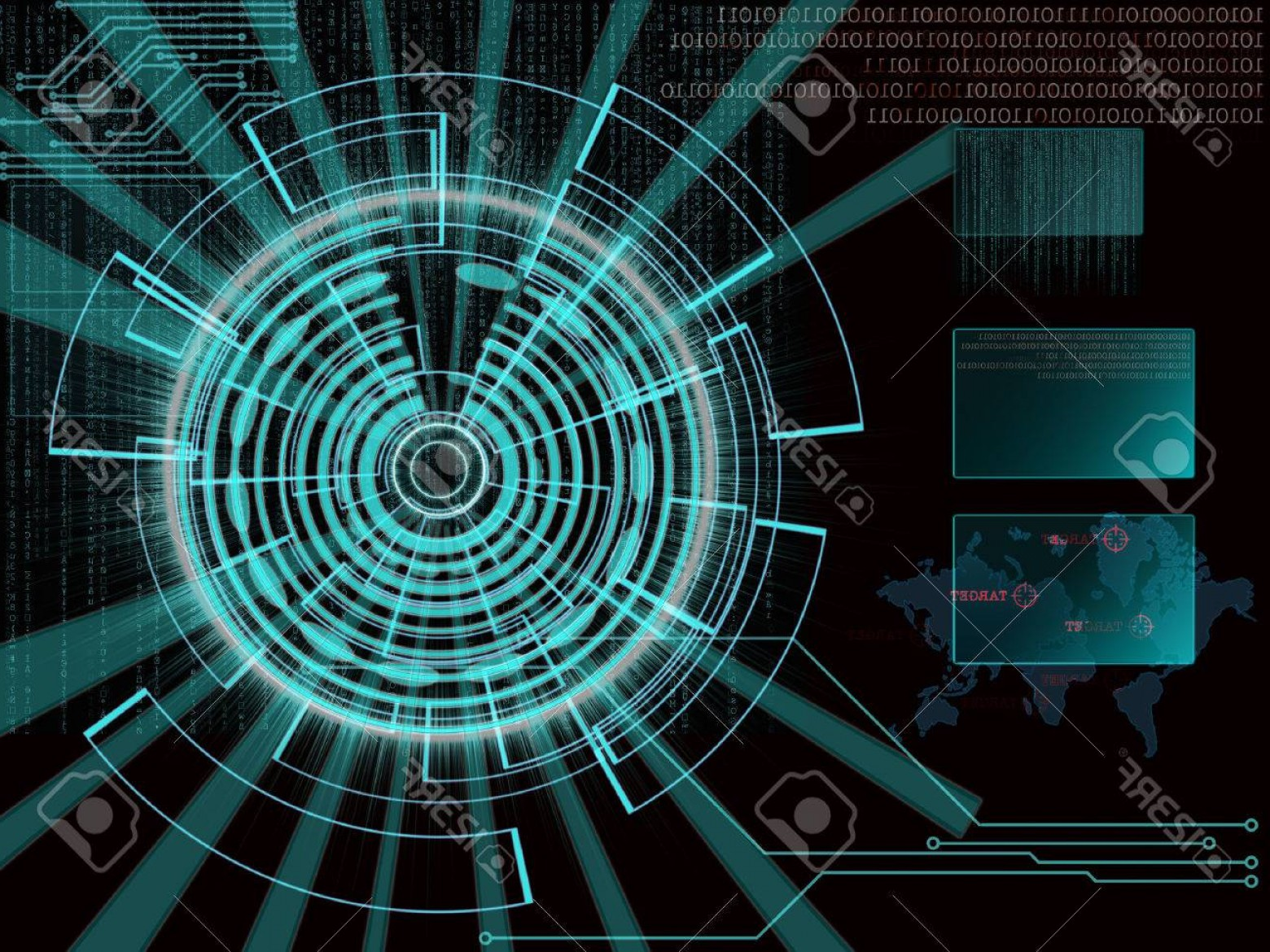 Futuristic Render Vector Graphics: Photorendering Of A Futuristic Cyber Background Target With Laser Light Effect