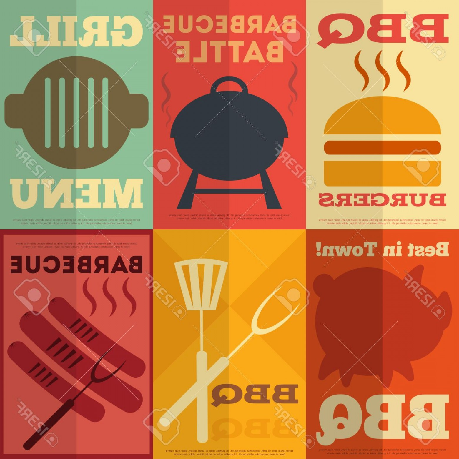 Vector Posters Design: Photoretro Barbecue Posters Collection In Flat Design Style Vector Illustration