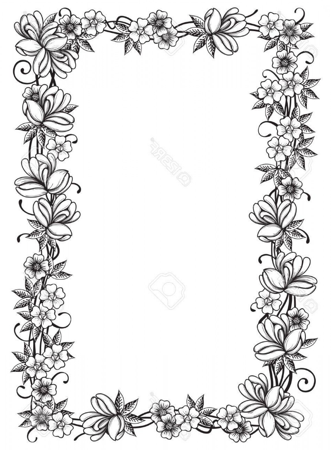 AT-AT Vector: Photoretro Floral Frame Ornate Border With Many Flowers And Leaves At At Engraving Style