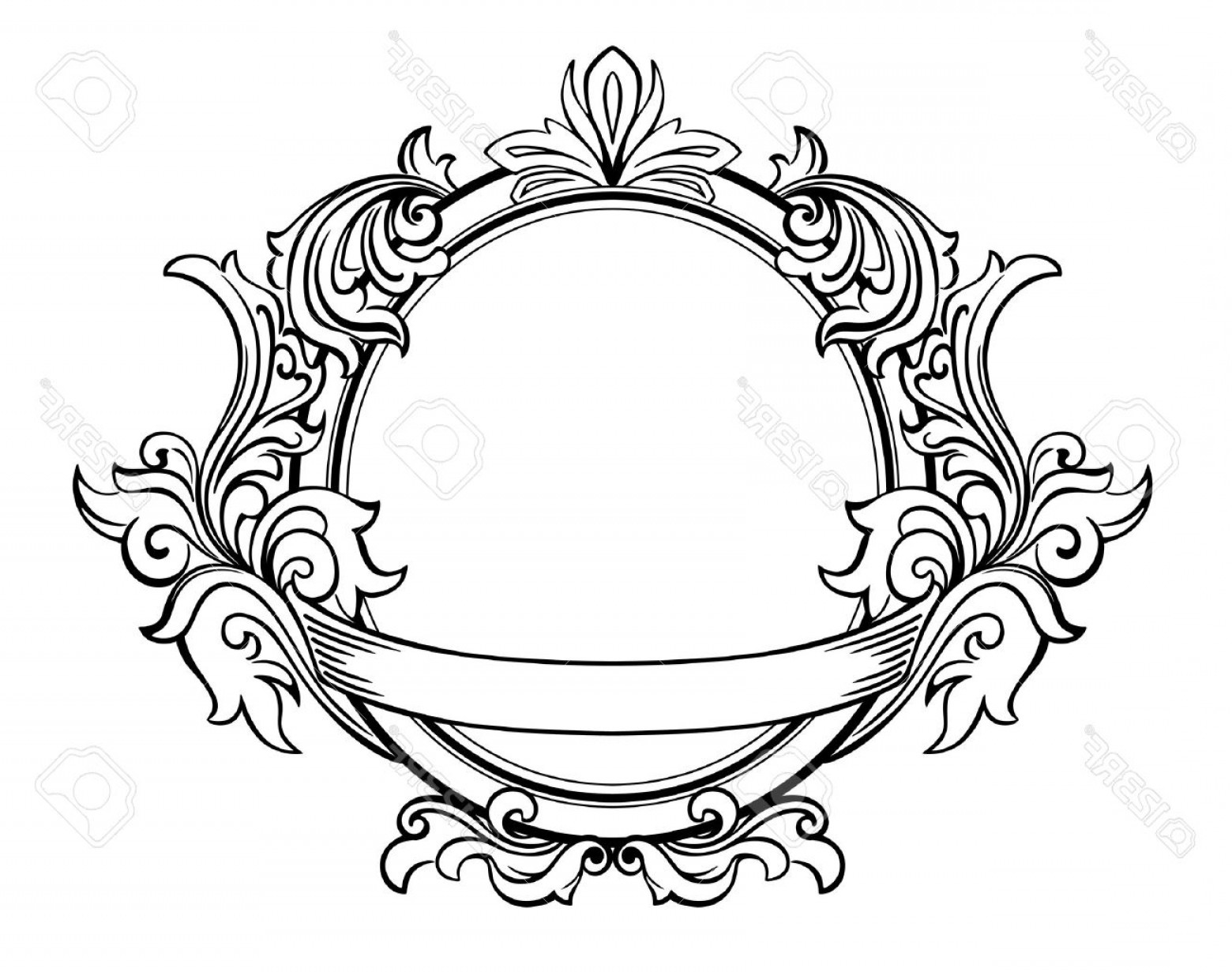 Victorian Style Frame Vector: Photoretro Frame With Decorative Floral Elements In Victorian Style