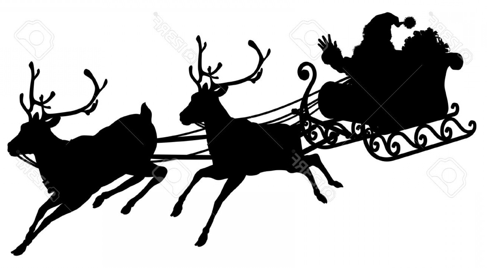 Black Santa Sleigh Vector: Photosanta Sleigh Silhouette Illustration Of Santa Claus In His Sleigh Flying Through The Sky Being Pulle