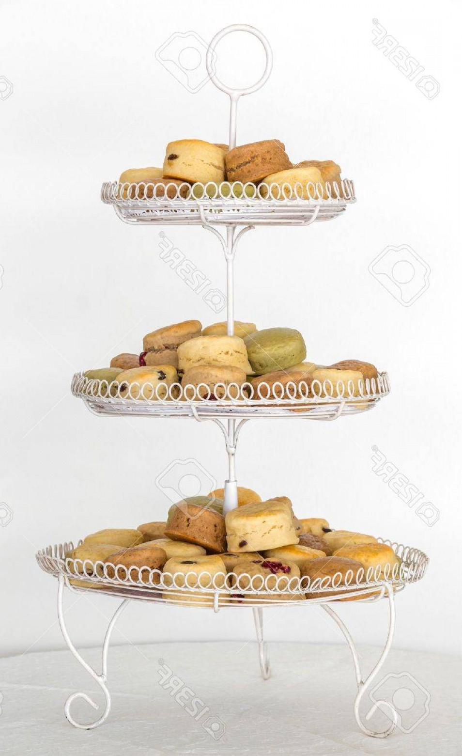 Vector 3 Tier Tray: Photoscones For Elegance Afternoon Teatime On Three Tier Serving Tray