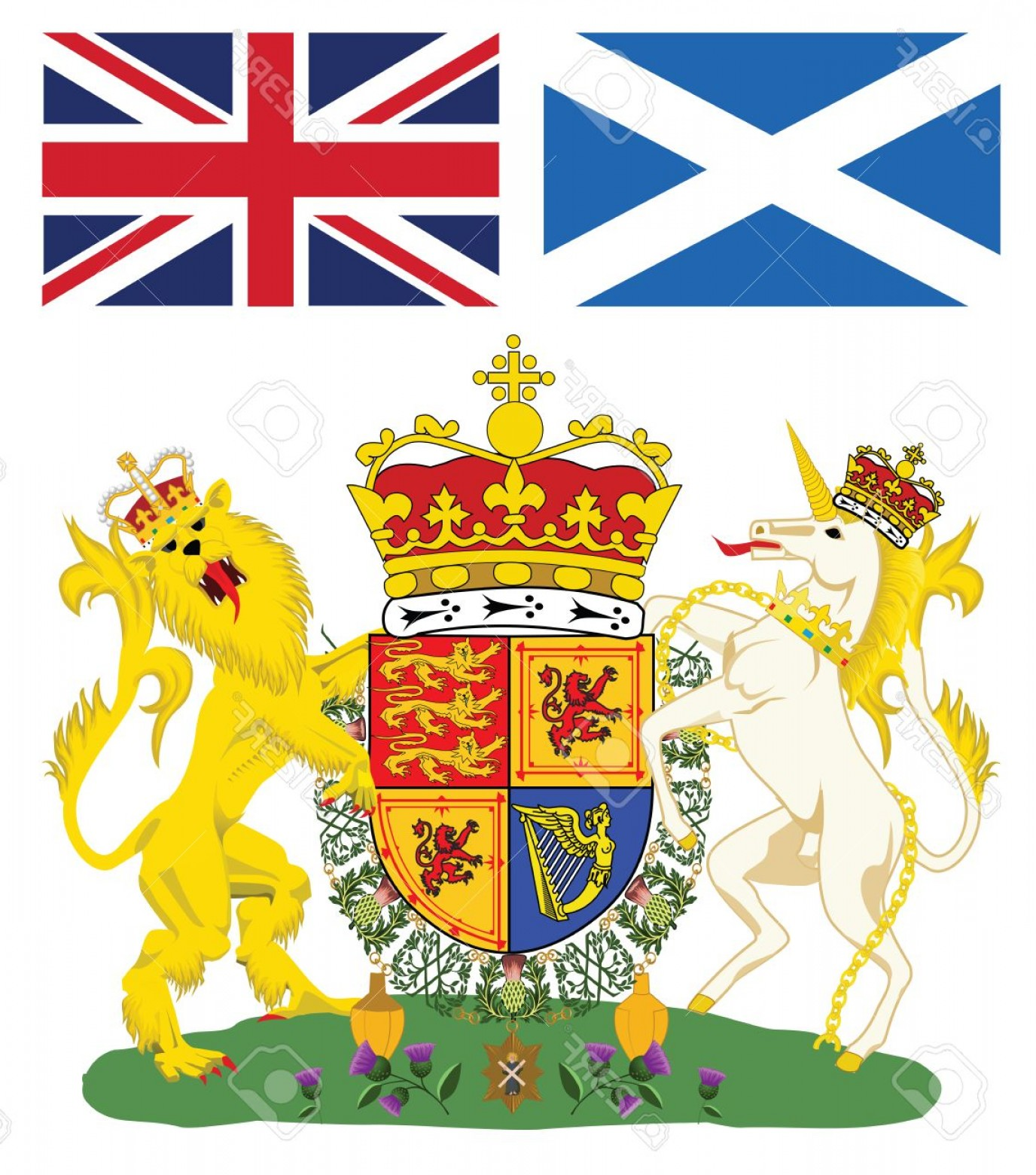 Scotland Heraldic Vector Graphic: Photoscottish Royal Coat Of Arms With Flags Of Scotland And Great Britain