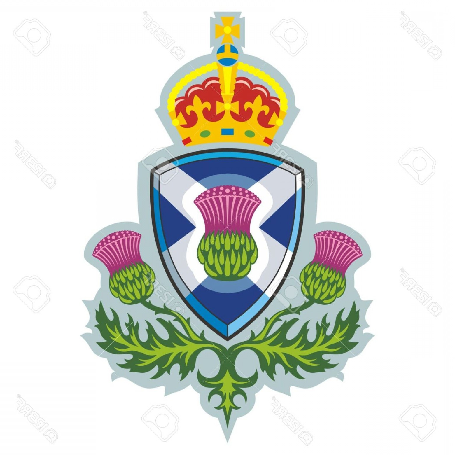 Scotland Heraldic Vector Graphic: Photoscottish Thistle Symbol Of Scotland Vector