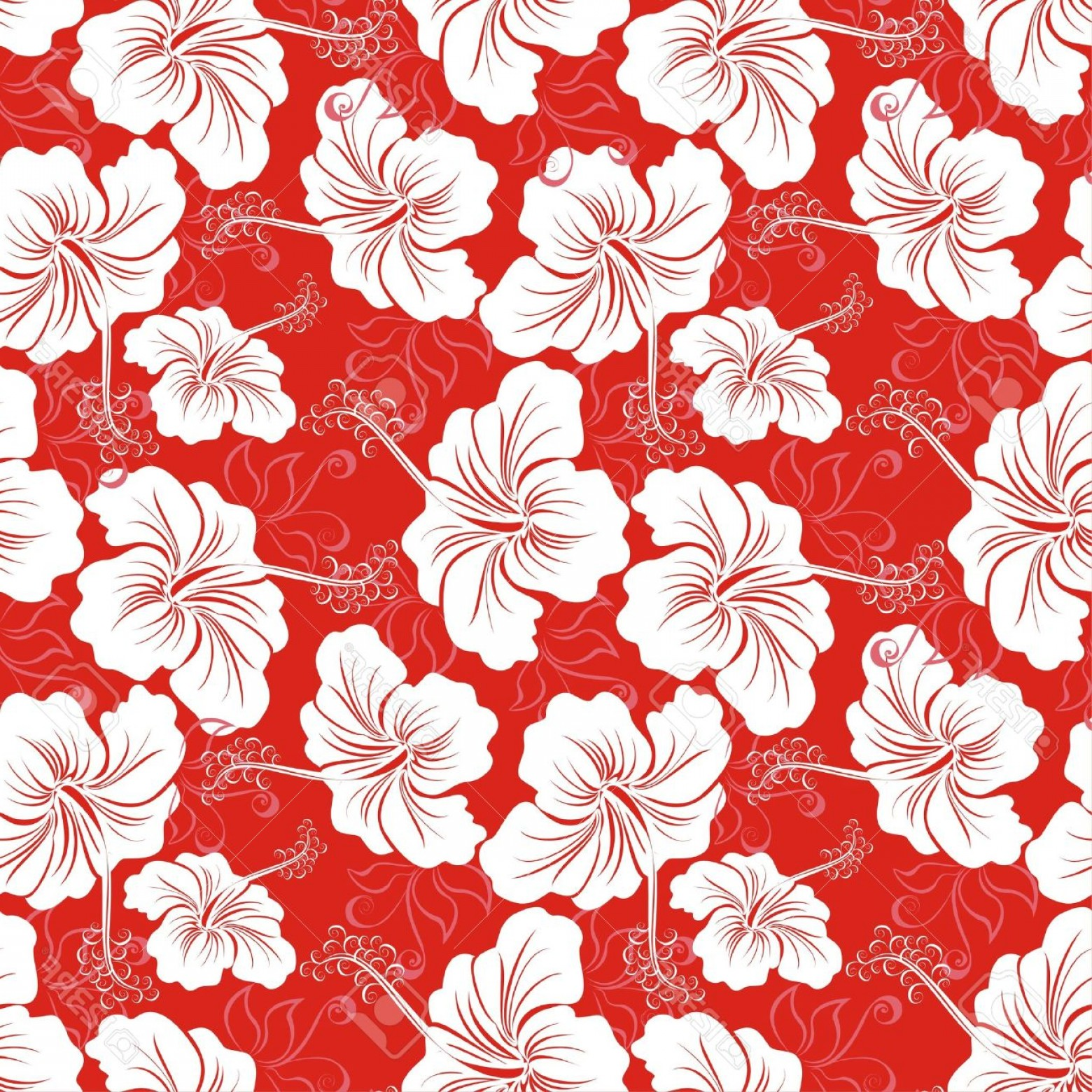 Hawaiian Pattern Vector: Photoseamless Background With Hibiscus Flower Hawaiian Patterns