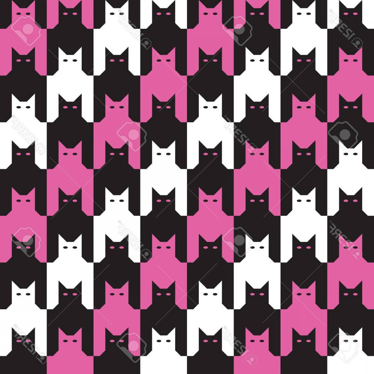 Pink And Black Houndstooth Vector: Photoseamless Cats Houndstooth Pattern In Pink And Black