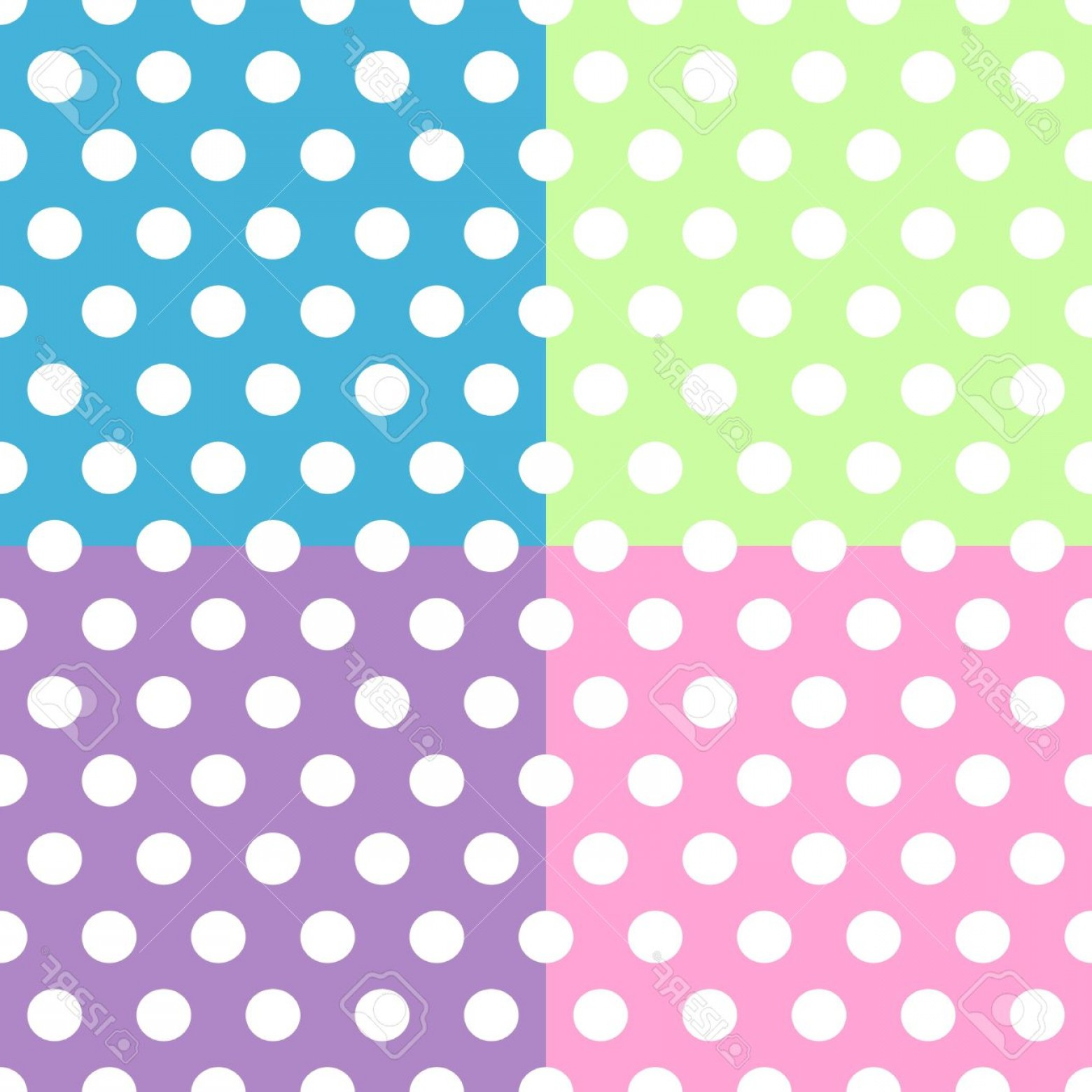 Purple Green And White Vector: Photoseamless Pattern Of Cute Fun And Bold White Polka Dots Patterns Over Pink Purple Green And Blue Squa