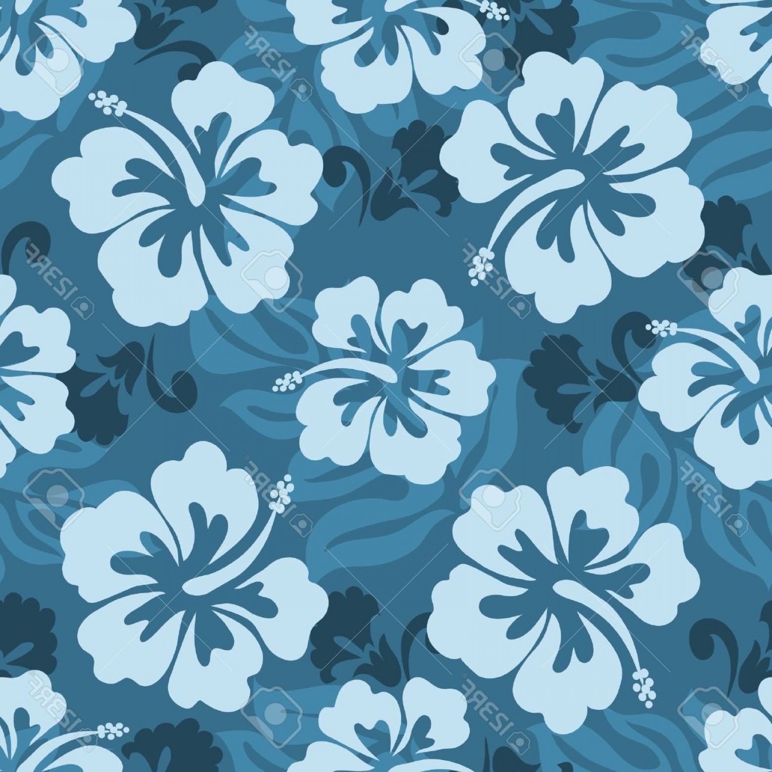 Hawaiian Pattern Vector: Photoseamless Pattern Of Hawaiian Hibiscus Flowers And Leaves
