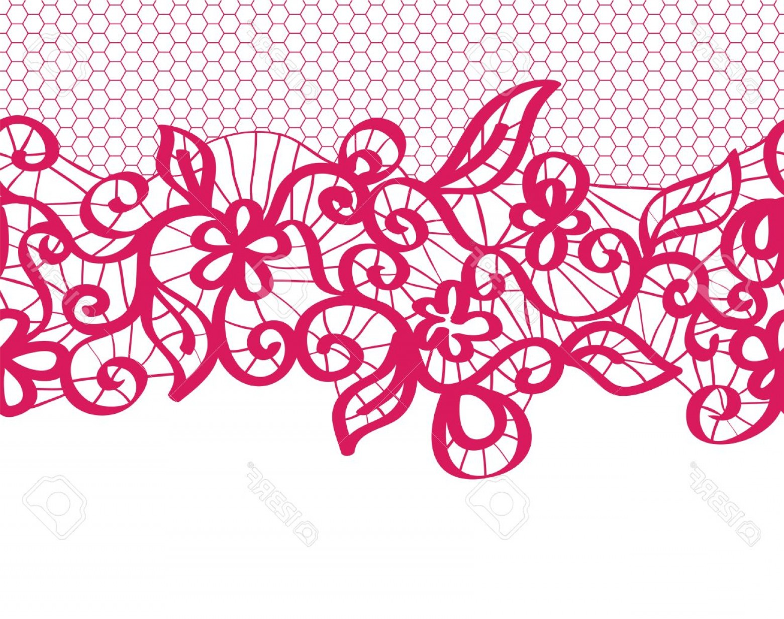 Floral Lace Trim Vector: Photoseamless Red Lace With Floral Pattern