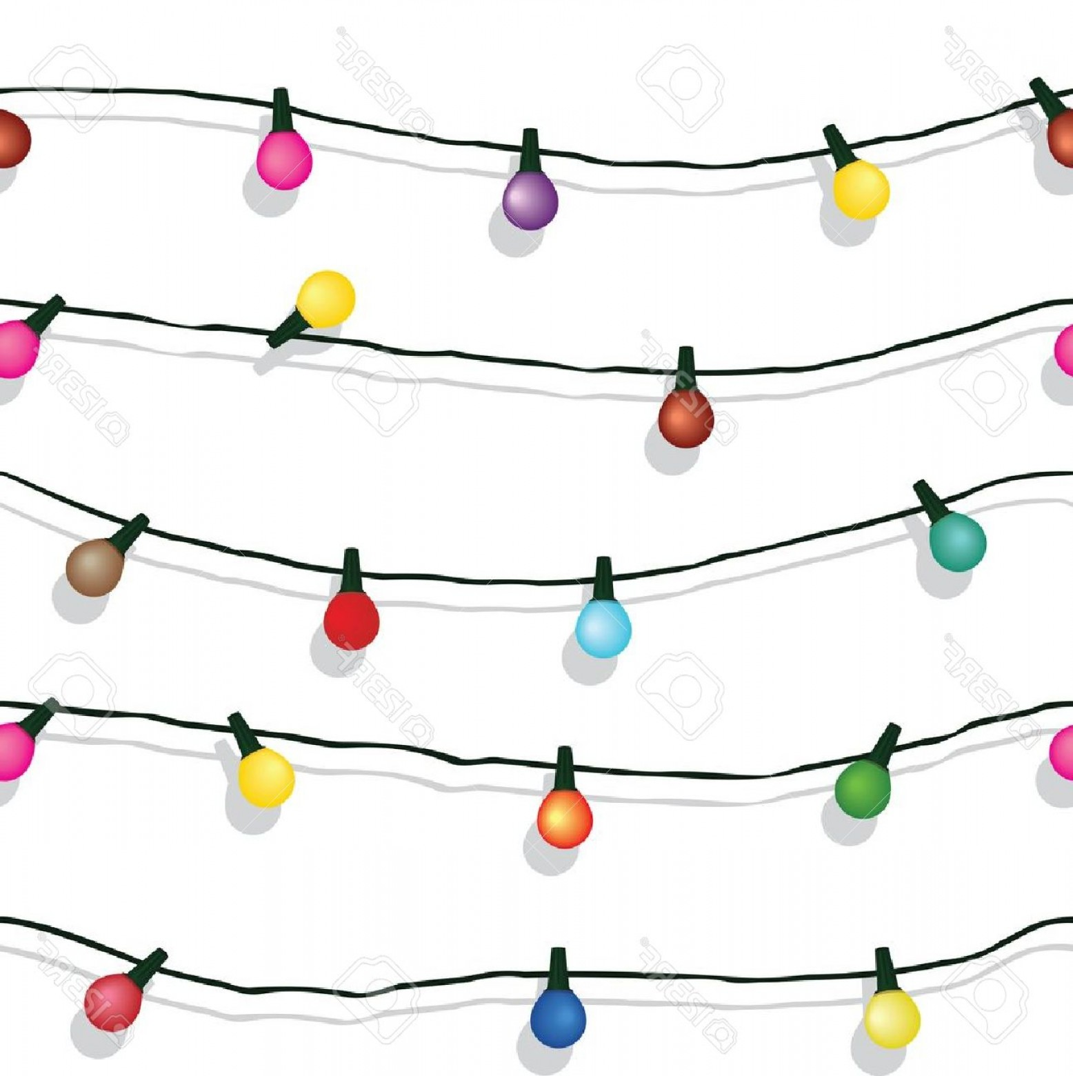 Christmas Light String Clip Art Vector: Photoseamless String Of Christmas Lights On Garland Background Isolated On White