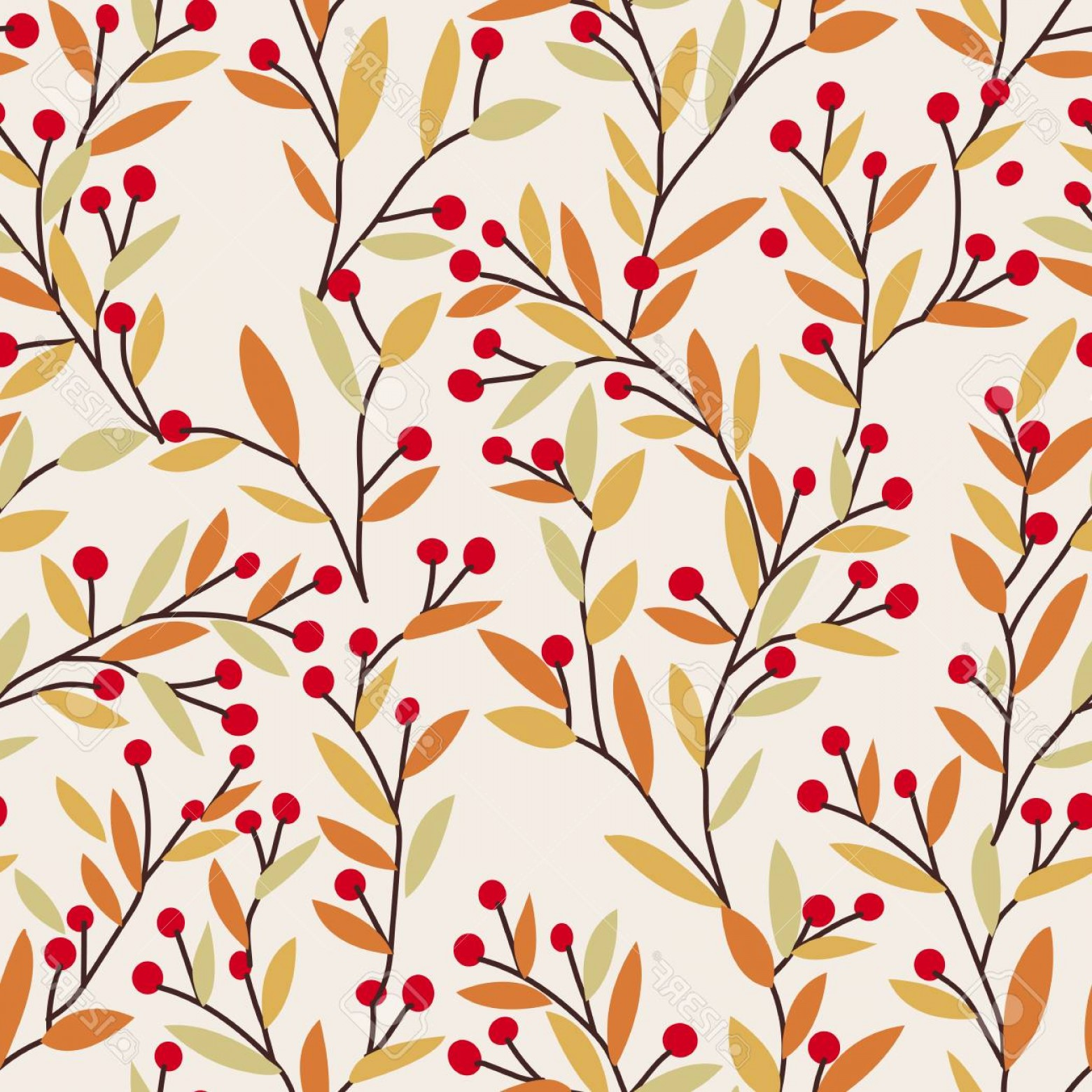 Autumn Seamless Vector: Photoseamless Vector Autumn Pattern With Red And Orange Berries And Leaves Fall Colorful Floral Backgroun