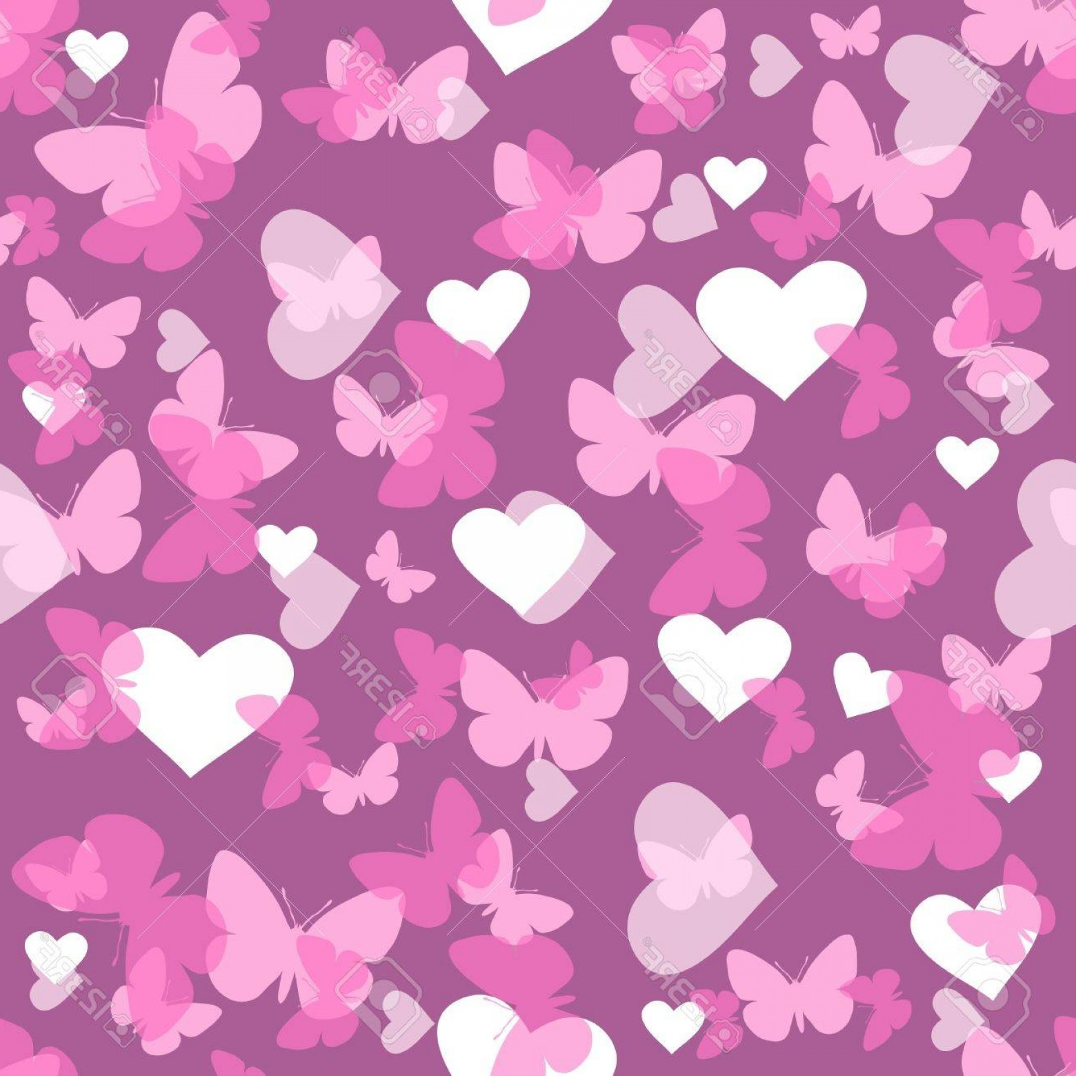 Purple Butterfly Wallpaper Vector: Photoseamless Vector Wallpaper Valentines With Hearts And Butterfly