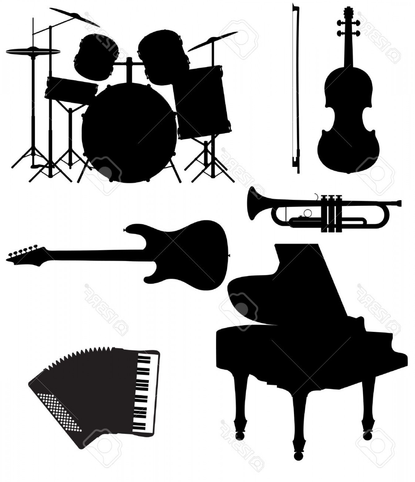 Musical Keyboard Vector: Photoset Icons Silhouettes Of Musical Instruments Vector Illustration Isolated On White Background