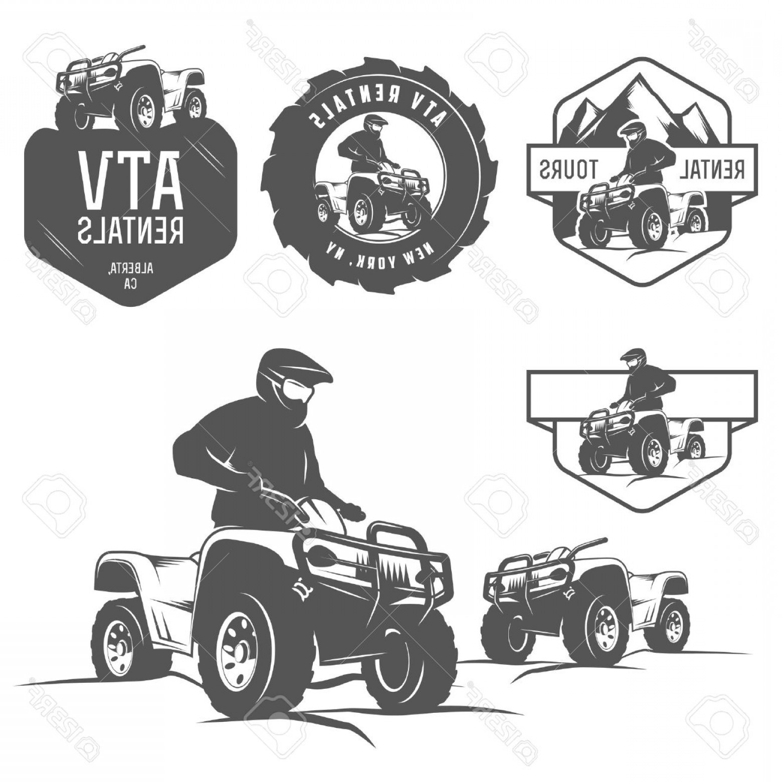ATV Vector Clip Art: Photoset Of Atv Labels Badges And Design Elements