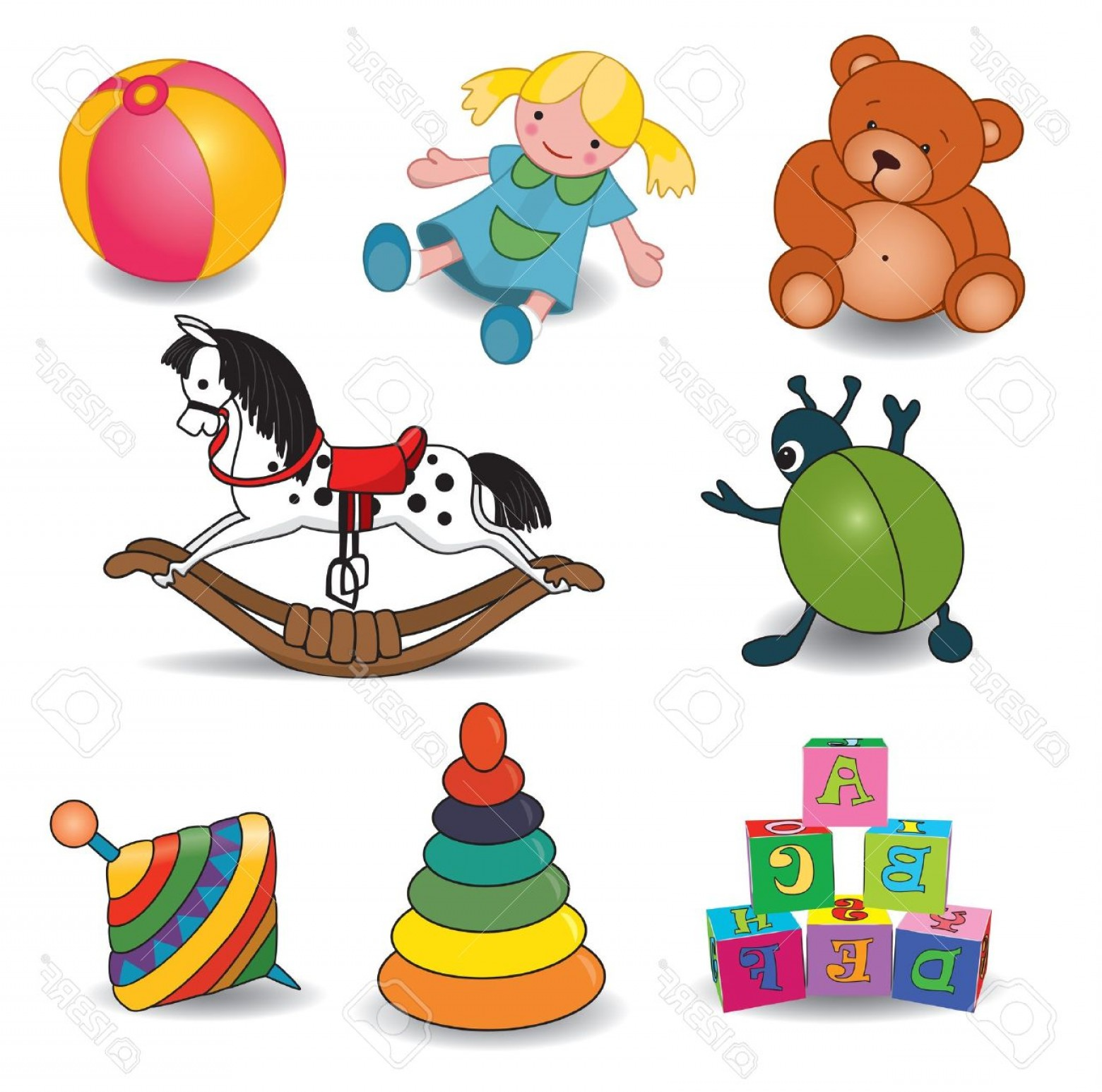 Baby Toy Vector: Photoset Of Baby S Toys Elements Illustration