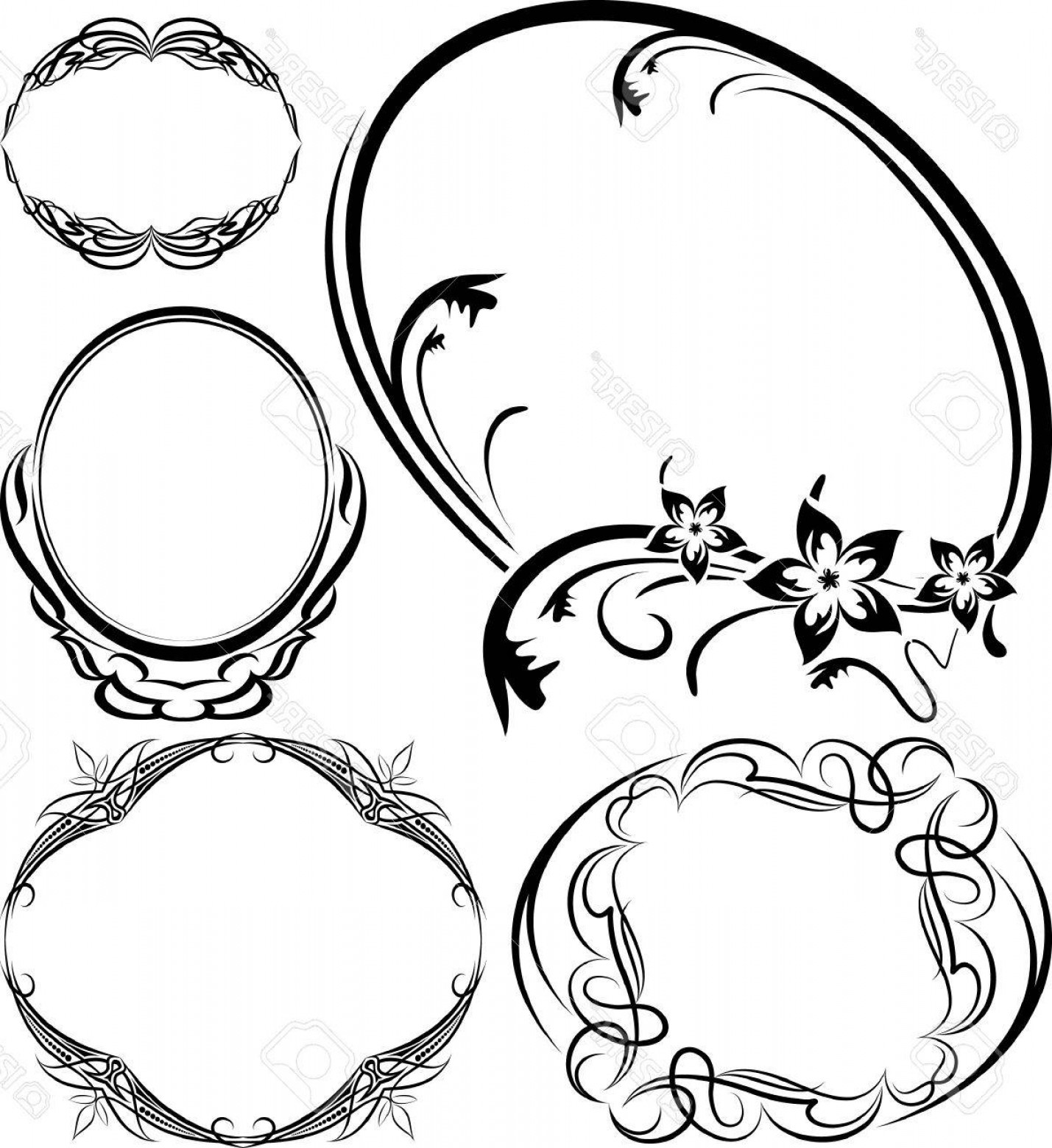 Filigree Oval Frame Vector: Photoset Of Elegant Oval Frame Vector