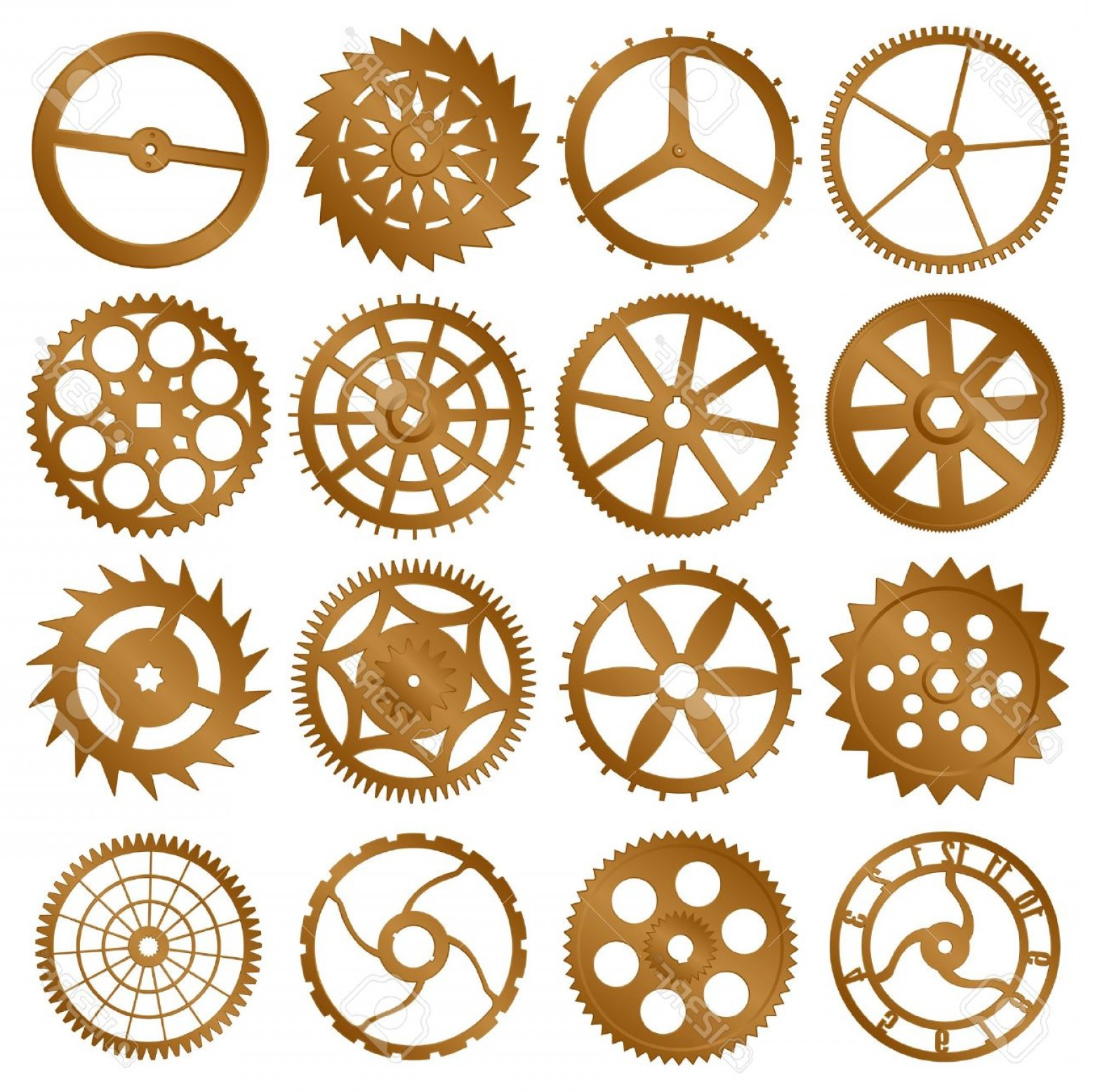 Watch Gears Vector: Photoset Of Elements For Design Copper Watch Gears