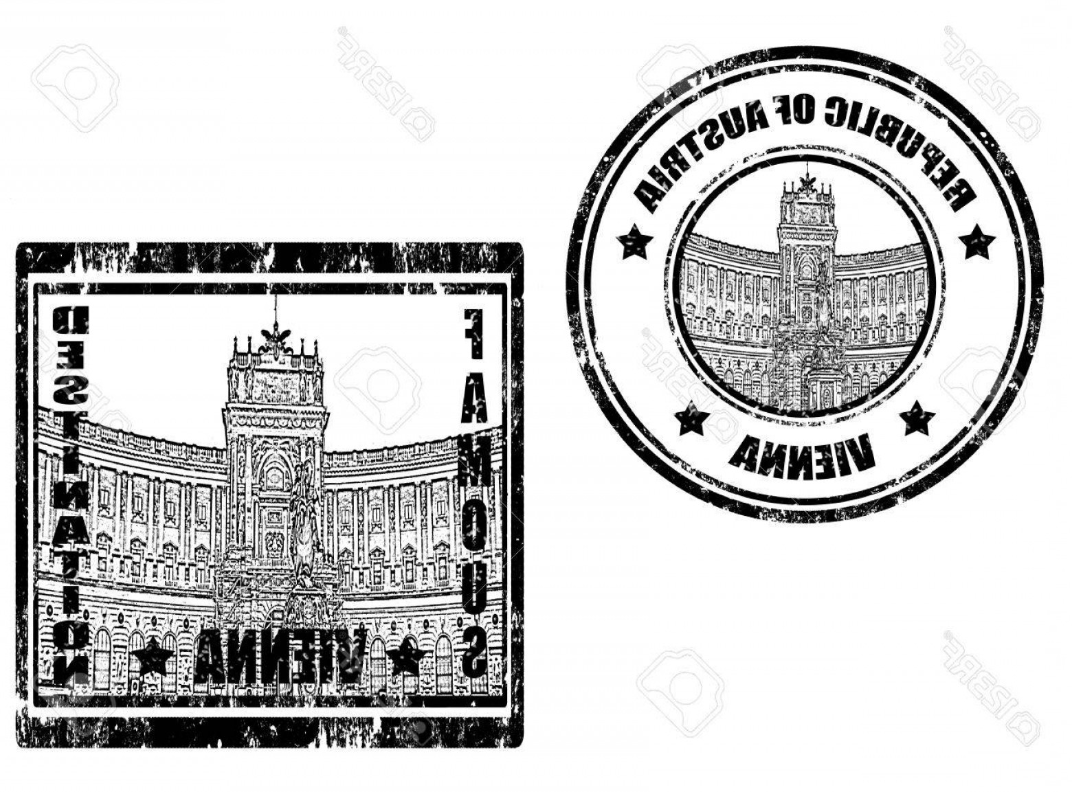 Vector Word Famous: Photoset Of Grunge Rubber Stamps With Word Vienna And Famous Destination
