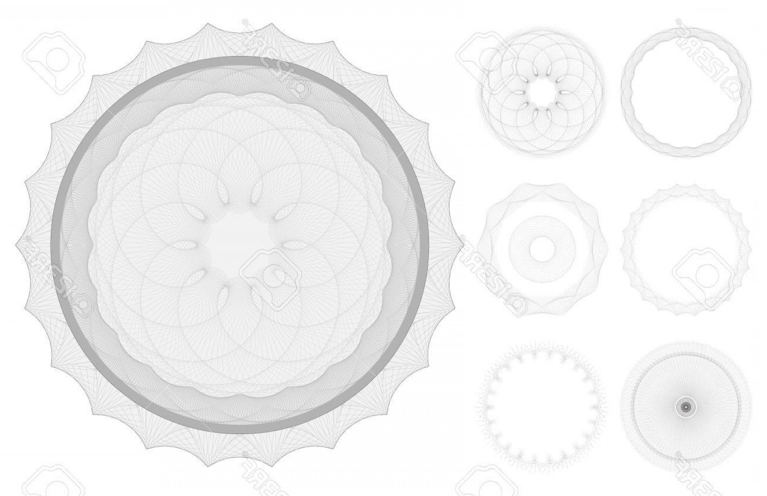 Security Vector Patterns: Photoset Of Guilloche Patterns Like Those Used For Security On Banknotes And Certificates In File Lines A