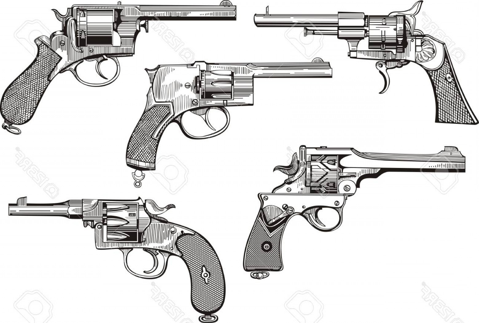 Vector Old Colt Revolvers: Photoset Of Old Revolvers Sketches