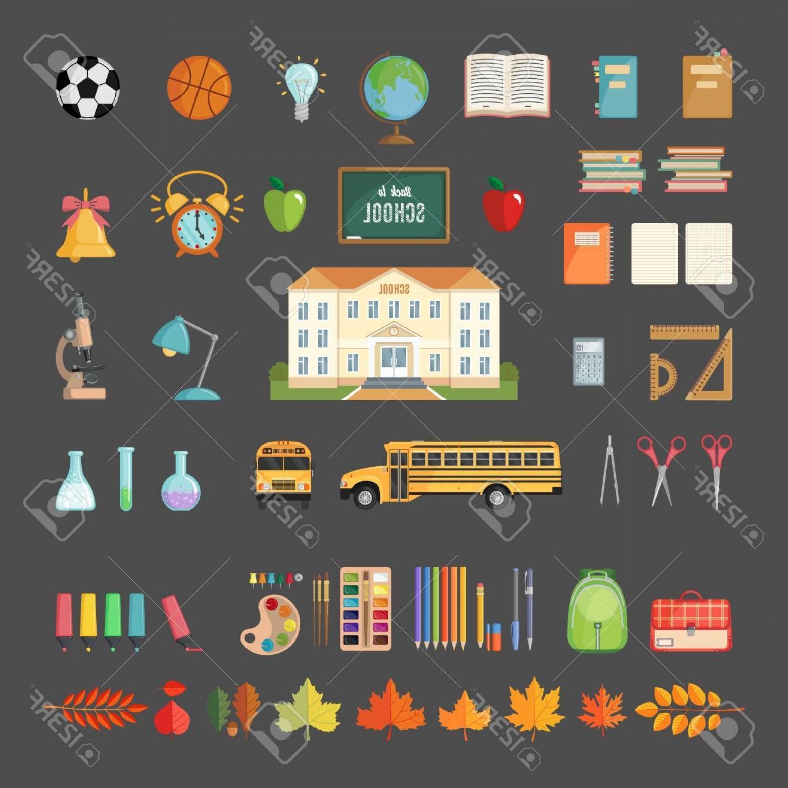 Individual School Supplies Vector: Photoset Of School Icons In Flat Style Selection Of Various Individual School Supplies On Gray Background