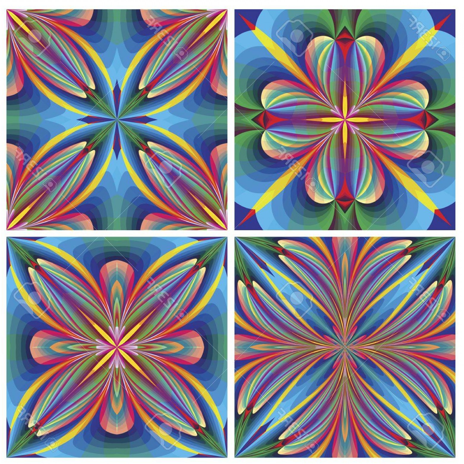 Art Deco Tile Vector Design: Photoset Of Seamless Art Deco Tiles With Historic Motifs In Vivid And Bright Colors For Tapestry Wall Des