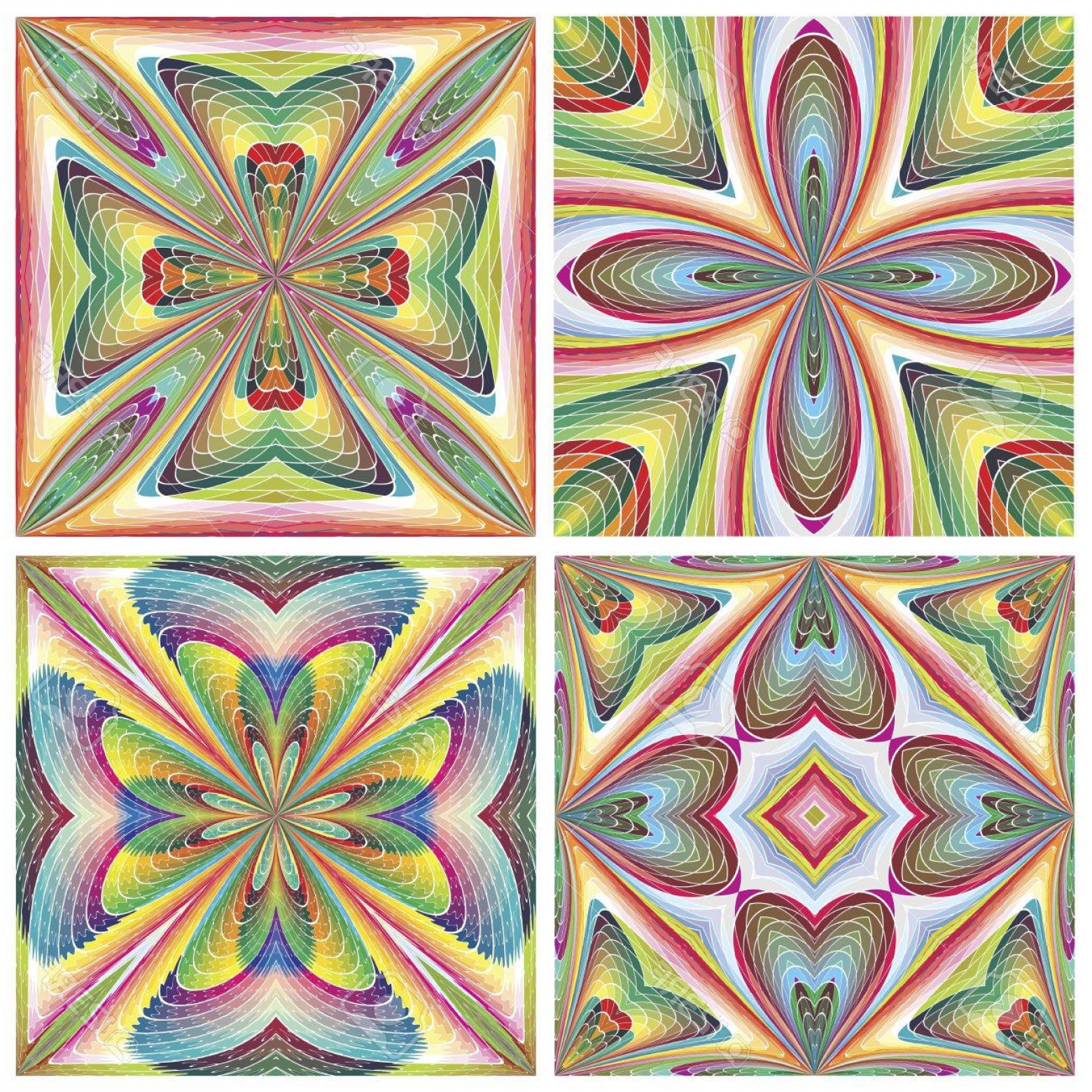 Art Deco Tile Vector Design: Photoset Of Seamless Stain Glass Art Deco Tiles With Historic Motifs In Vivid And Bright Colors For Tapes