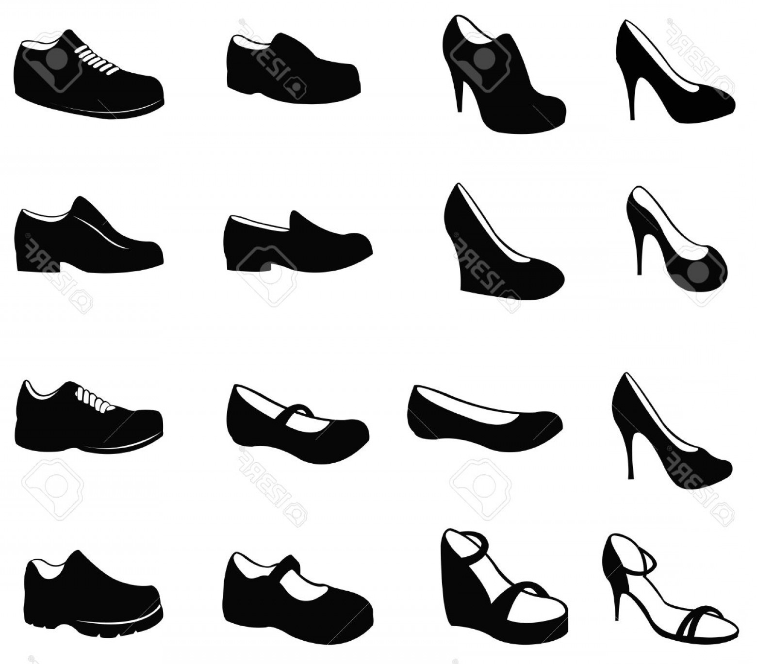 Sneaker Silhouette Vector: Photoset Of Silhouette Shoes Icon Create By Vector