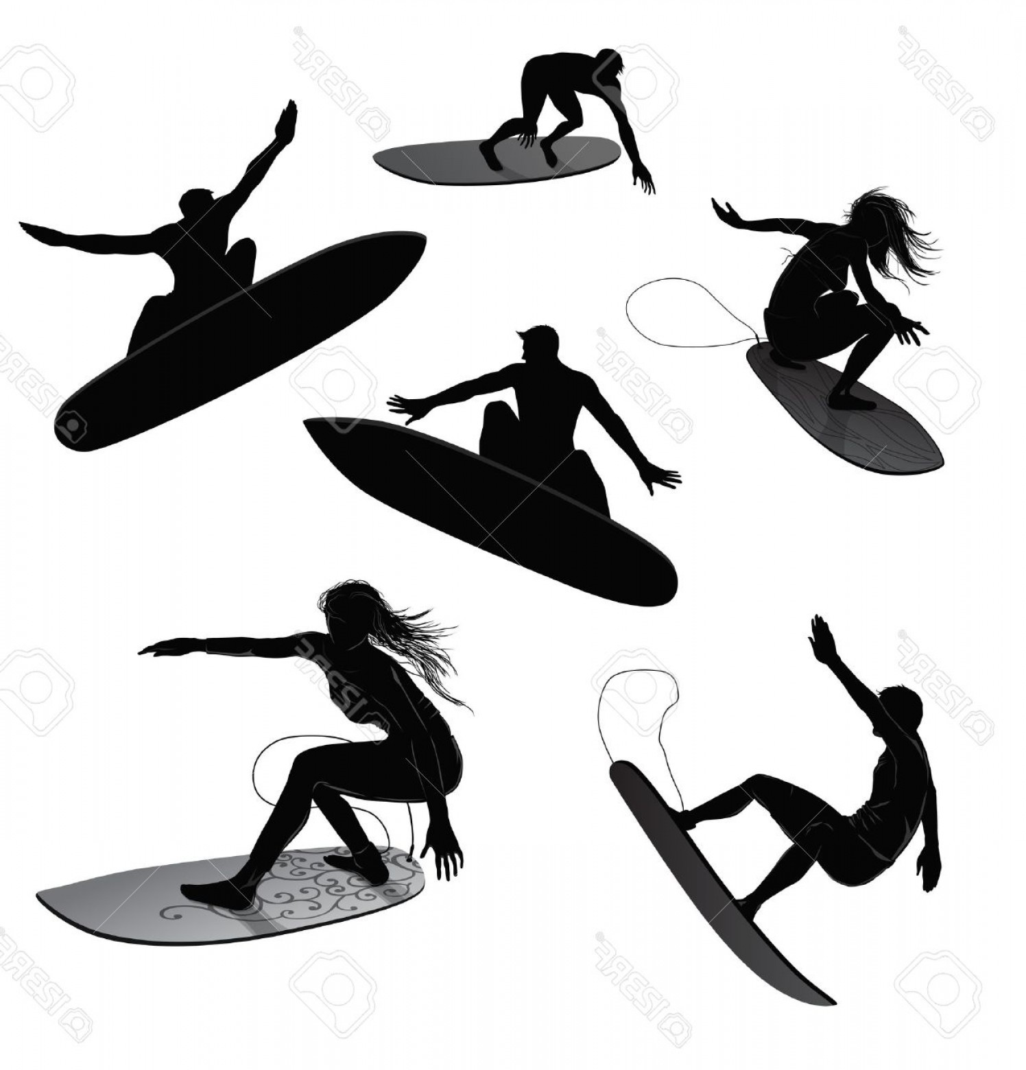 Waves With Surfer Silhouette Vector: Photoset Of Silhouettes Of Surfers