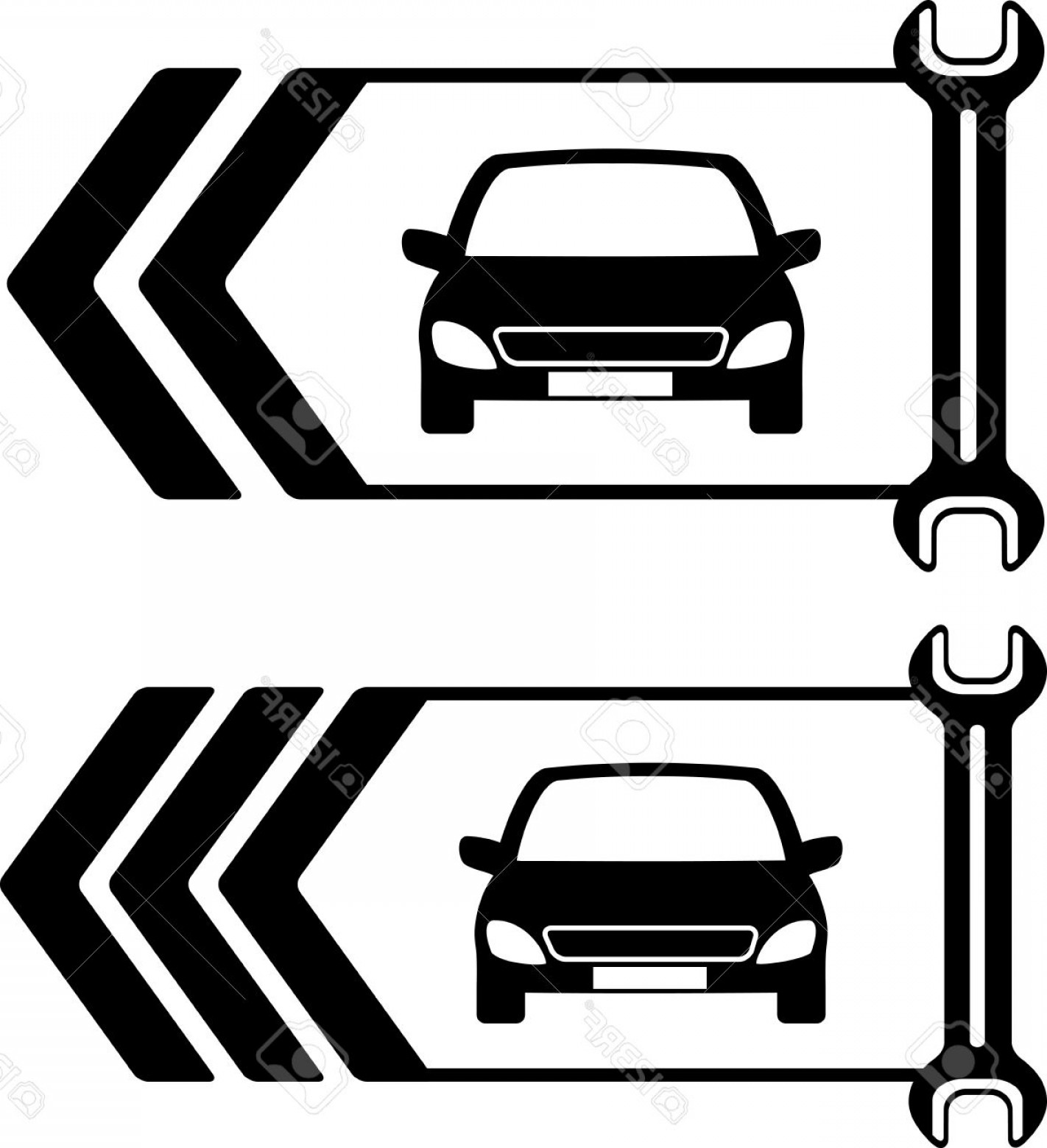 Fixing Car Vector: Photoset Of Two Road Sign Of Car Repair On White Background