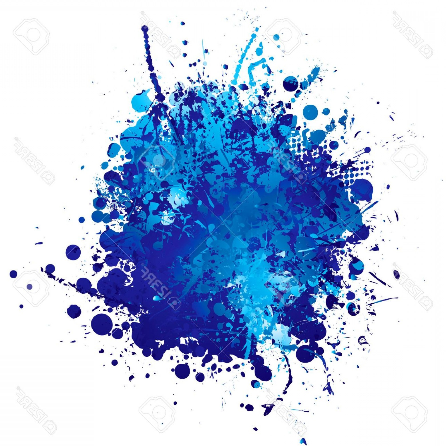 Blue Paint Splatter Vector: Photoshades Of Blue Abstract Ink Splat With White Background