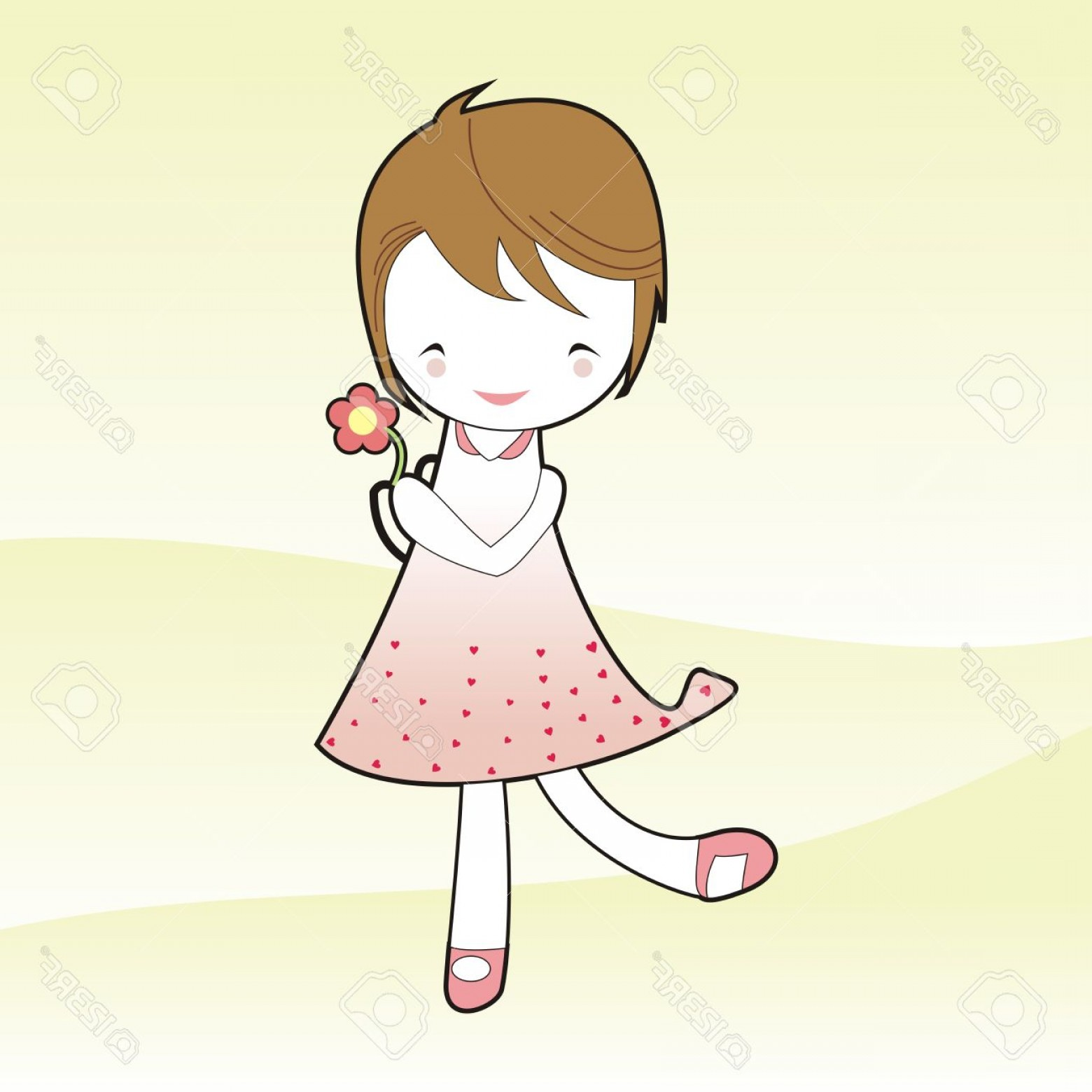 Vector Flower Girl Dresses: Photoshort Hair Girl Hold Flower In Pink Dress Cartoon Vector