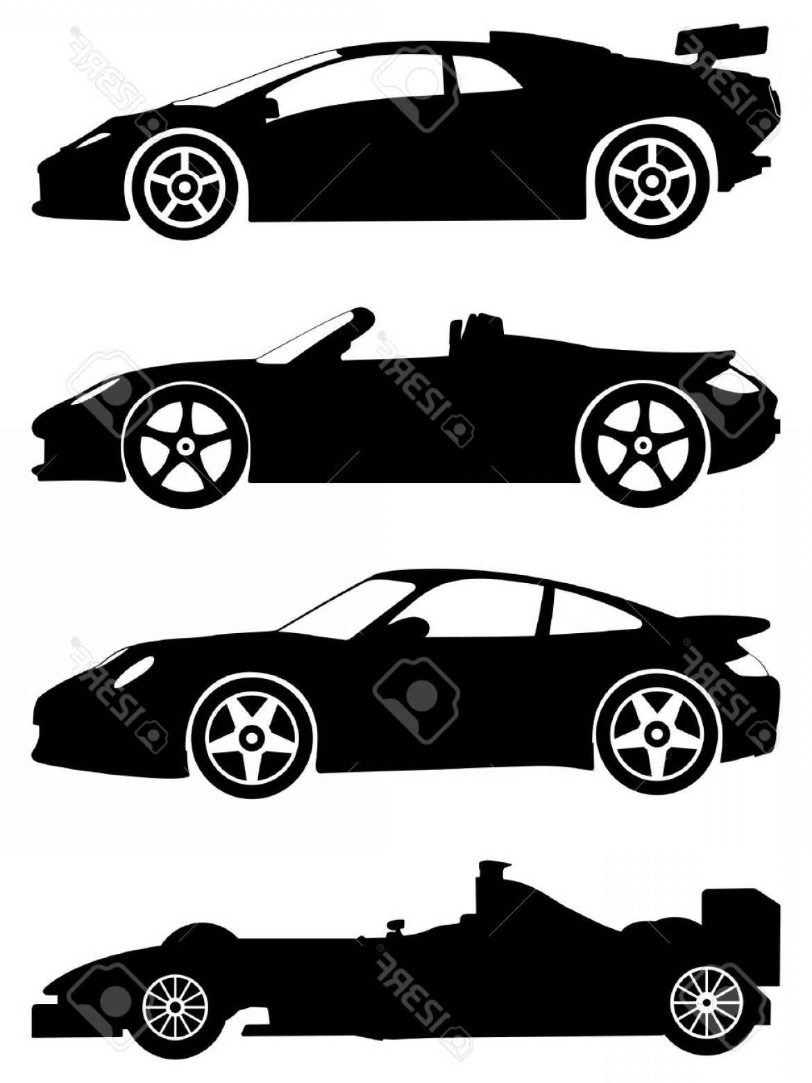 Car Silhouette Vector Free: Photosilhouette A Sport Cars On A White Background Vector Illustration