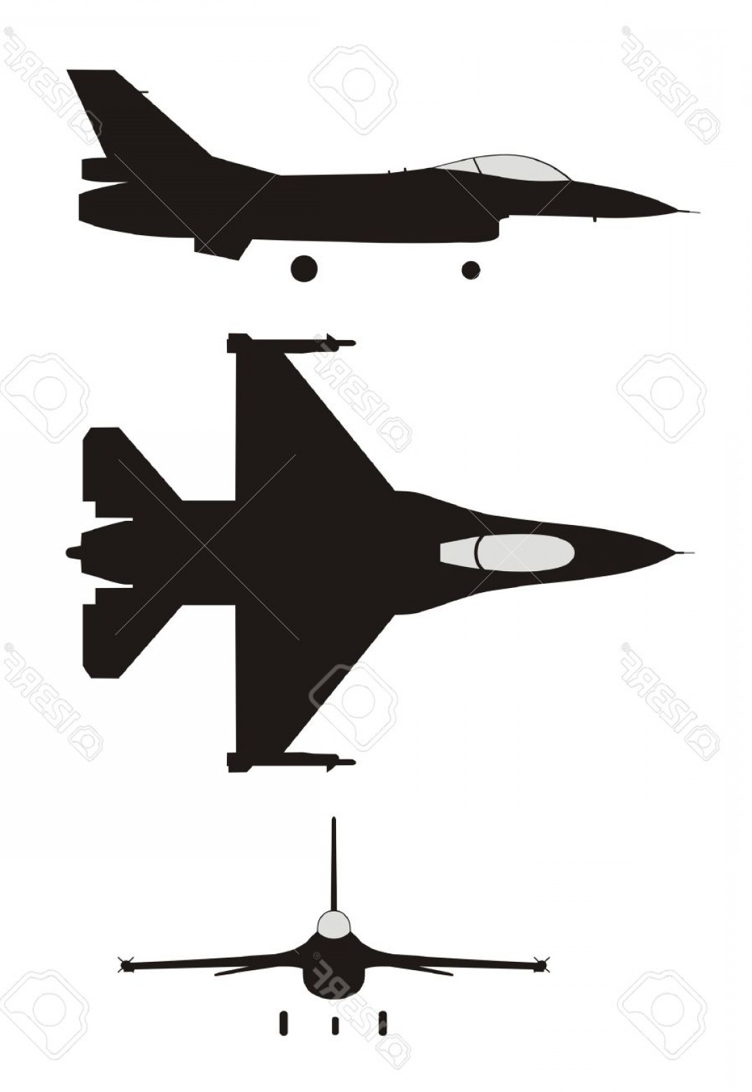 Vector Jet Fighter: Photosilhouette Illustration Of Jet Fighter F