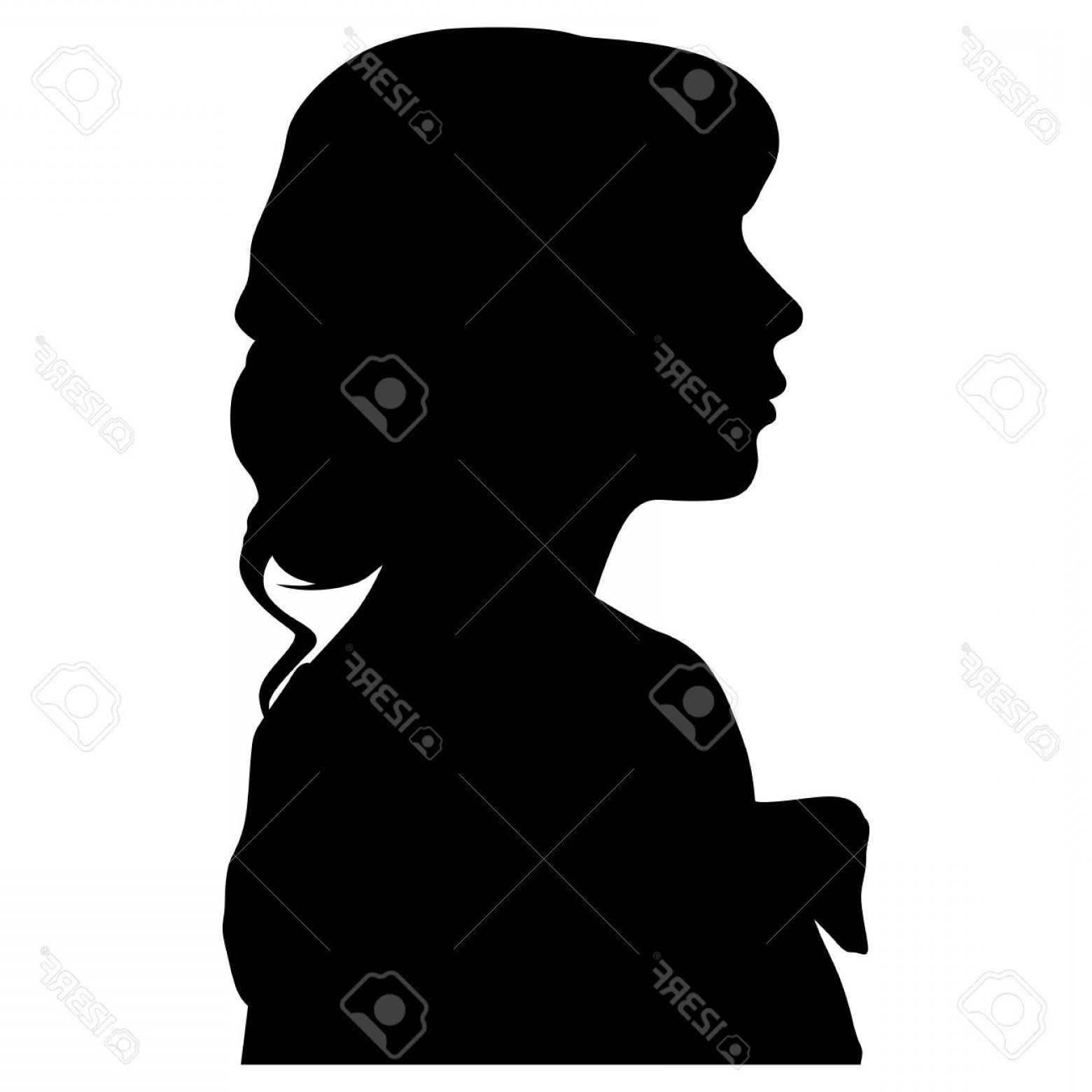 Soldier Woman Profile Vector: Photosilhouette Of A Woman In Profile