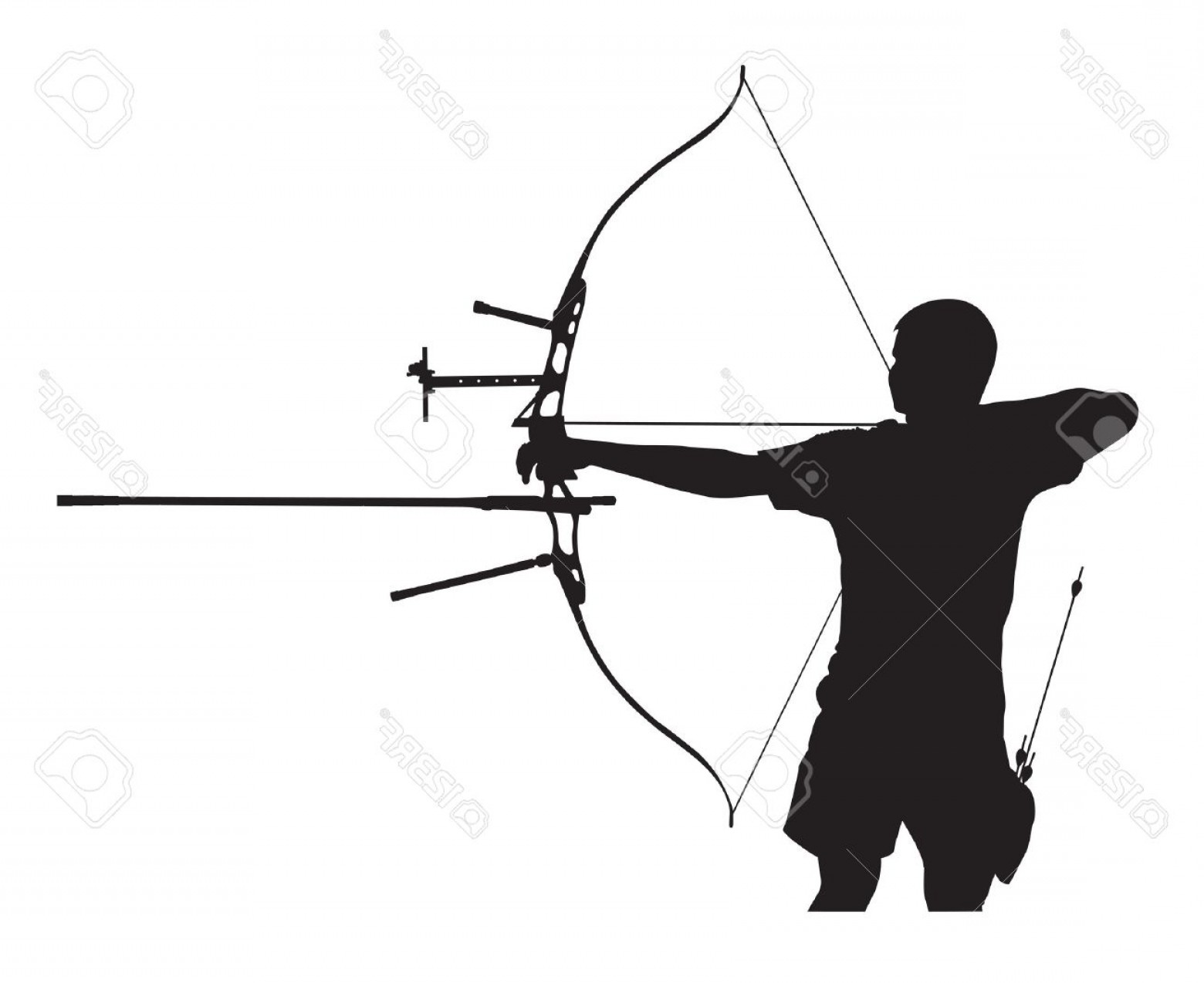 Vector Archery Silhouette: Photosilhouette Of Archer Stretching The Bow And Aiming