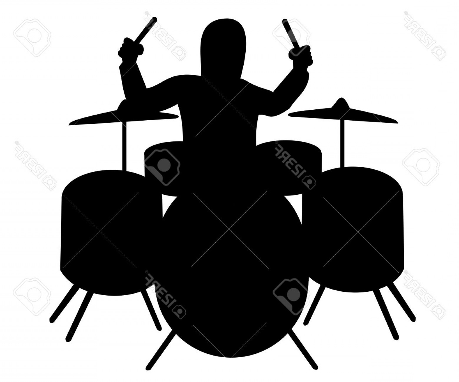 Drum Vector Art: Photosilhouette Of Drummer Playing The Drum Kit