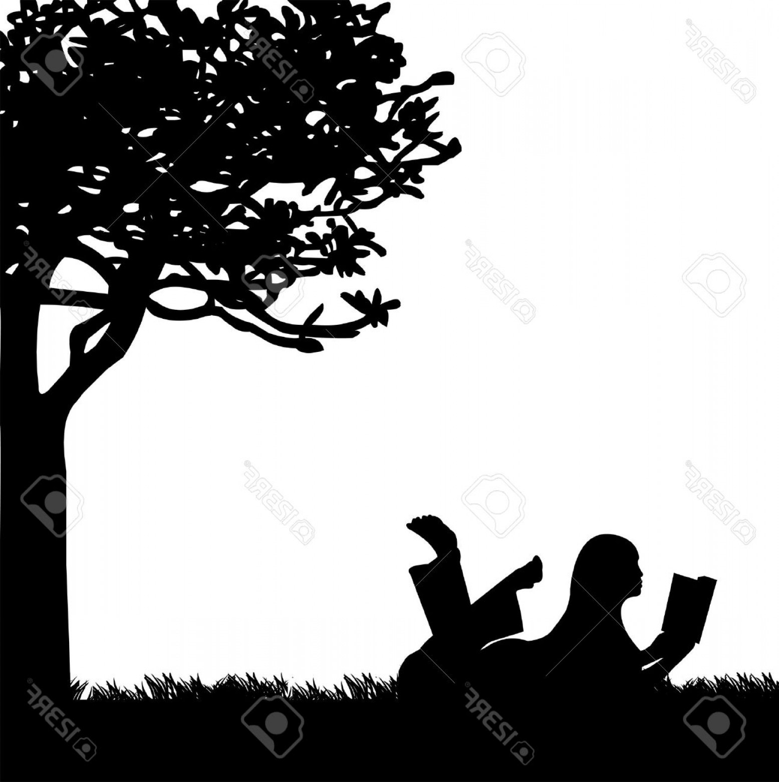 Spring Vector Silhouette: Photosilhouette Of Girl Reading A Book Under The Tree In Spring One In The Series Of Similar Images