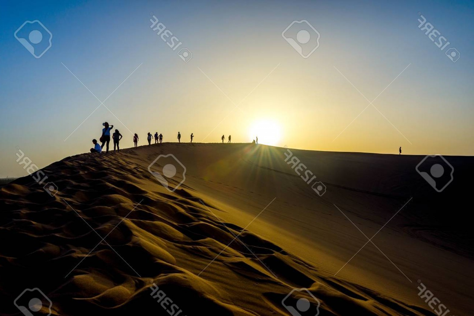 Sand Dune Silhouettes Vectors: Photosilhouette Of People On The Top Of Sand Dunes Gobi Desert China