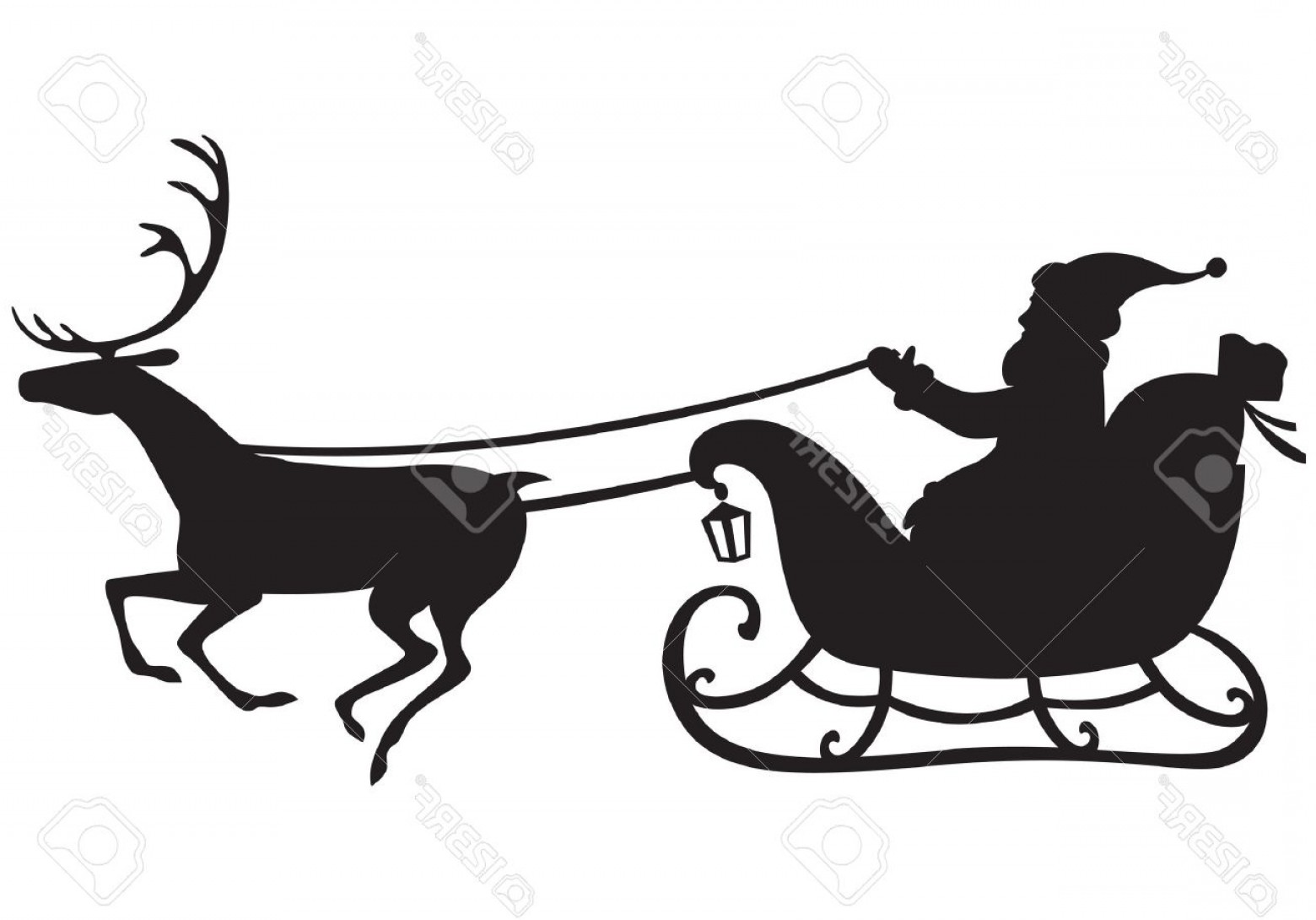 Black Santa Sleigh Vector: Photosilhouette Of Santa Claus Riding A Sleigh Pulled By Reindeer And Carries A Sack Of Gifts
