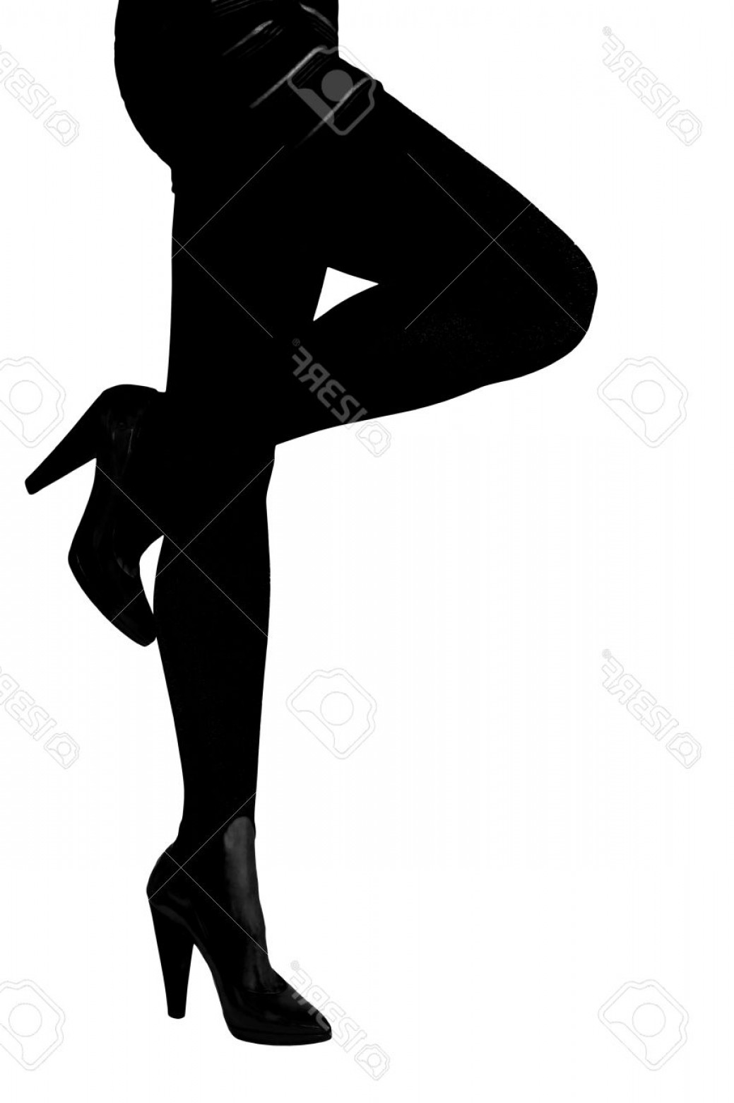 Silhouette Hee High Vector Lsitleetios: Photosilhouette Of Sexy Woman Legs In Shoes High Heels Isolated On White Background
