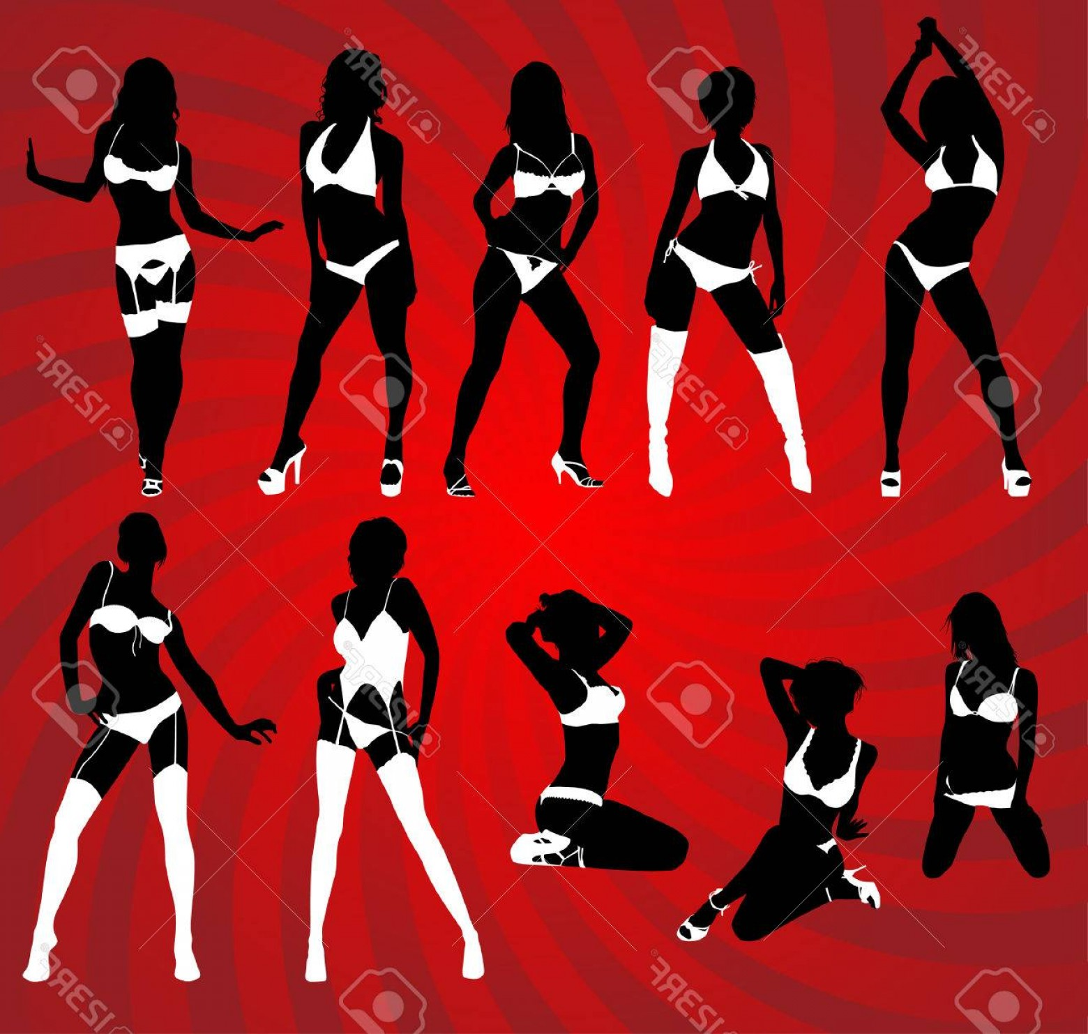 Sexy Silhouette Vector Art: Photosilhouette Of Woman In Sexy Lingerie