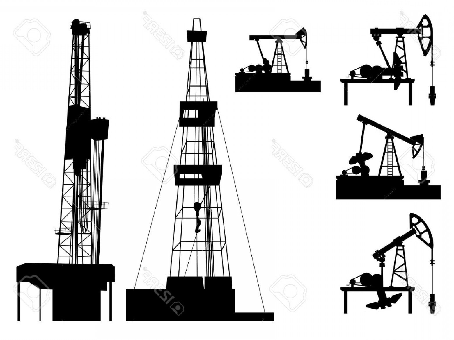 Oilfield Vector Crosses: Photosilhouettes Of Units For Oil Industry Oil Pump