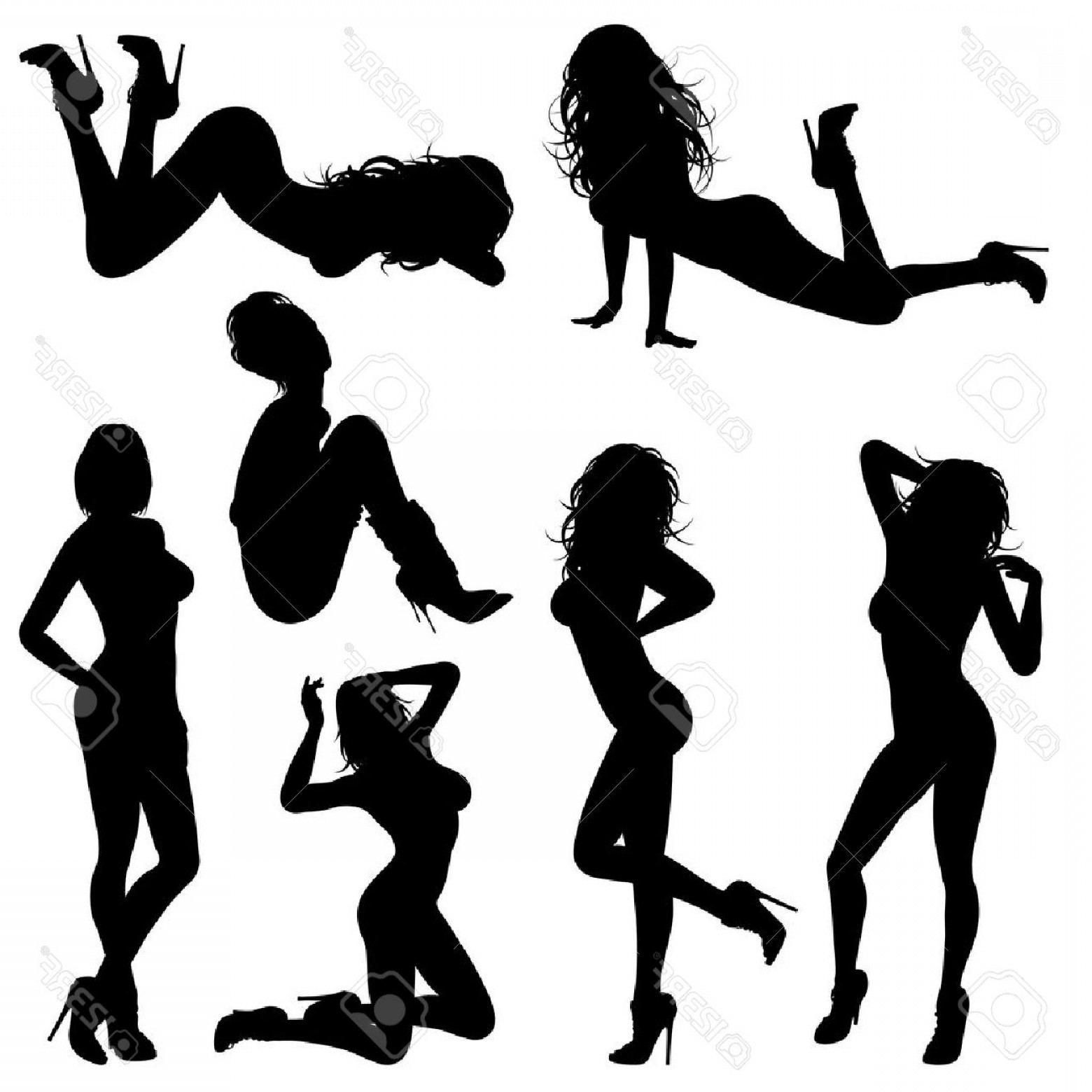 Sexy Silhouette Vector Art: Photosilhouettes Sexy Girl In Various Poses Isolated On White Background