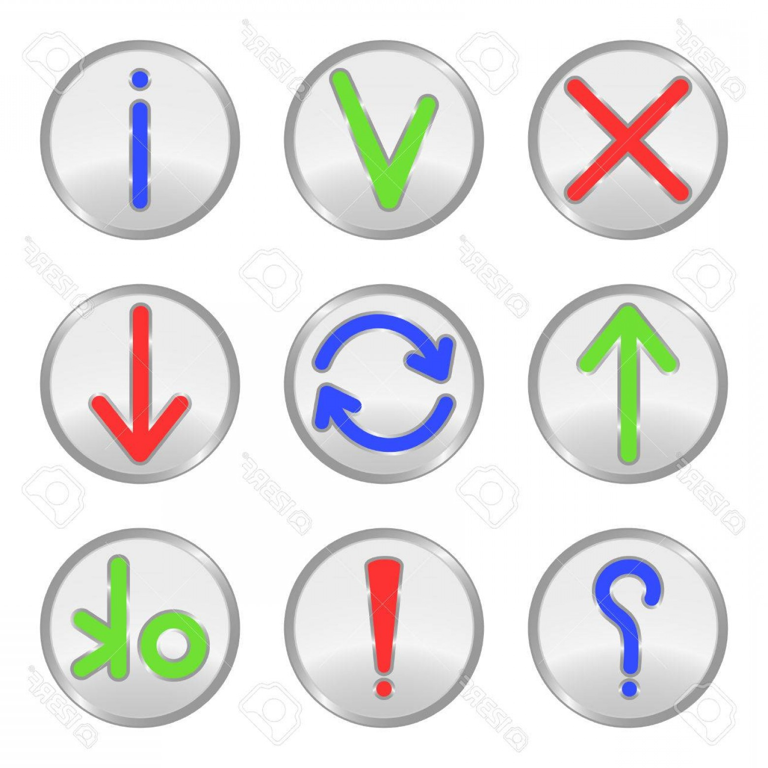 Downloadable Vector Cross: Photosilver Web Buttons Cross Check Mark Information Uploading Connection Downloading Question Exclamatio