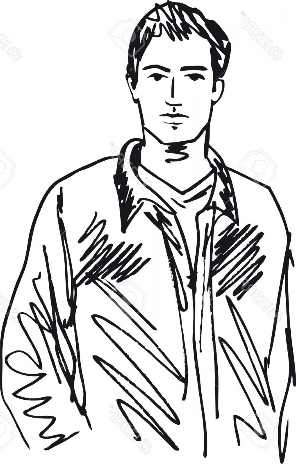 Handsome Man Vector Outline: Photosketch Of Handsome Man Vector Illustration