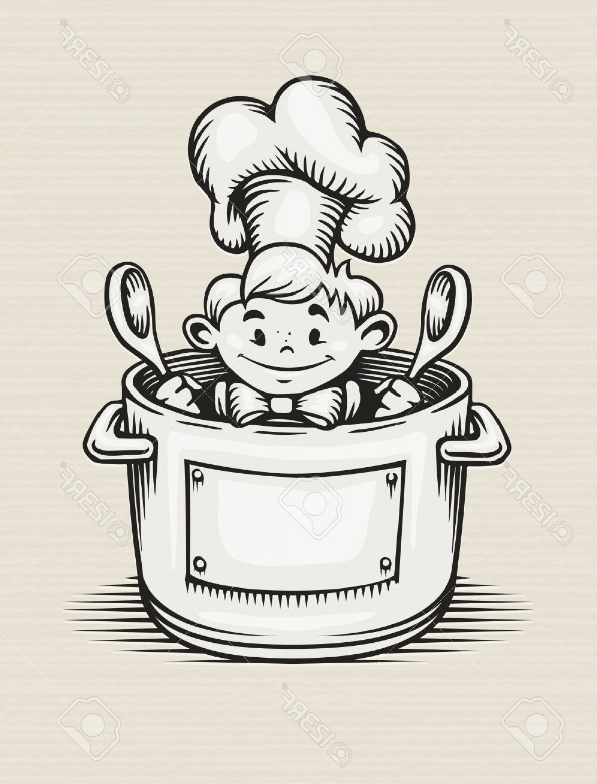 Big Cook With Cooking Pot Vector: Photosmiling Boy Cooking In The Kitchen Sitting In The Pot With Two Big Spoons In His Hands Eps Vector