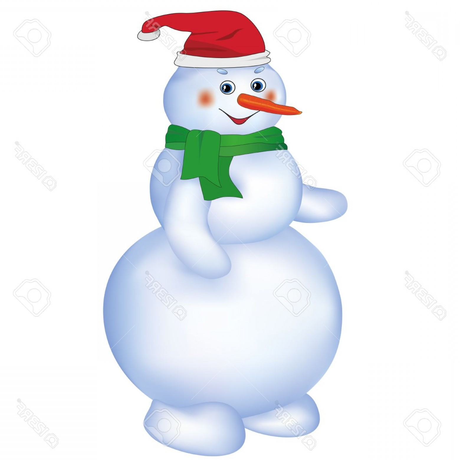 No Hat With Snowman Vector: Photosmiling Cute Christmas Snowman Wearing Santa Hat And Green Scarf Isolated On White Background