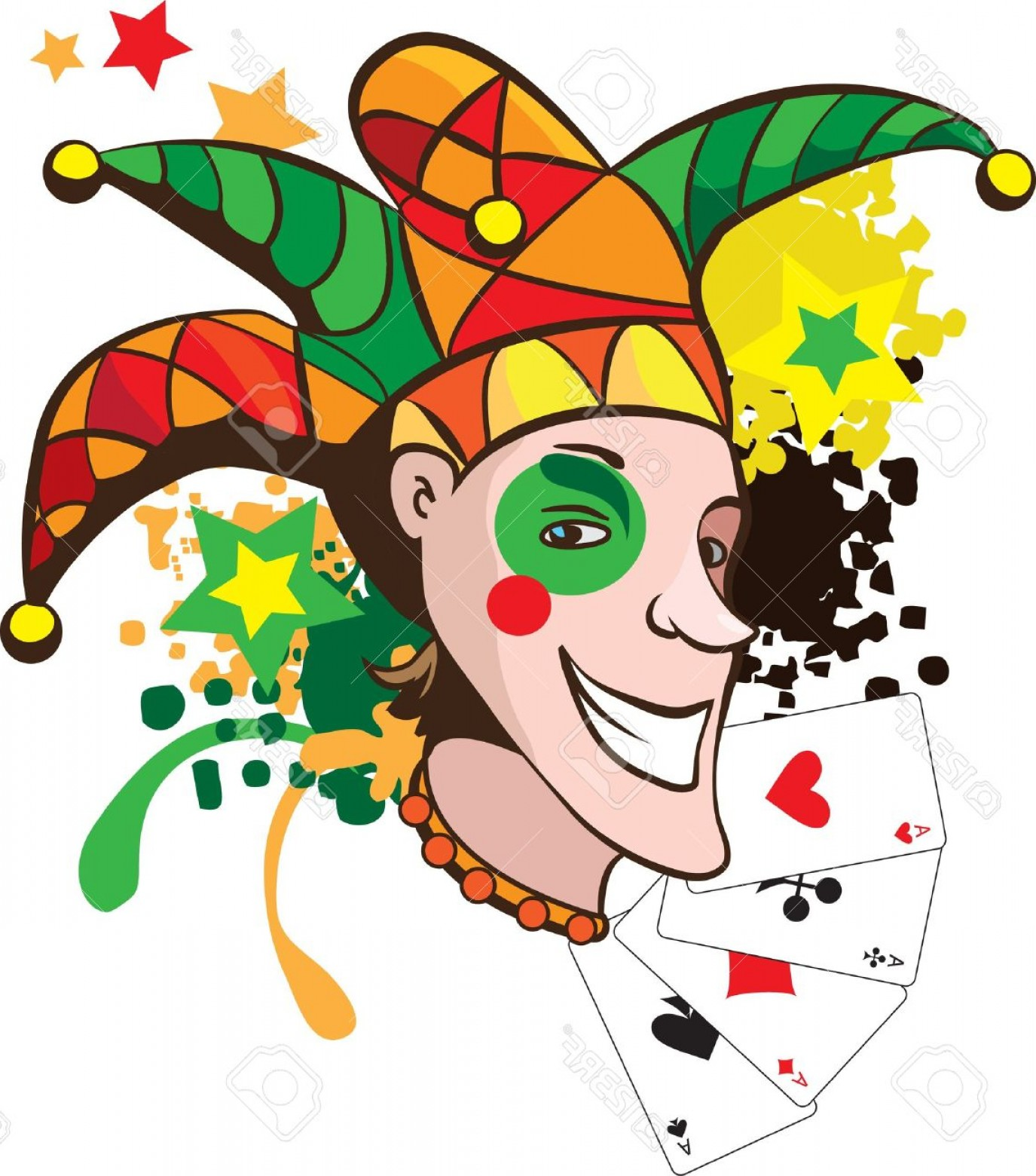 Joker Smile Vector Art: Photosmiling Joker With Cards And Stars Vector Illustration